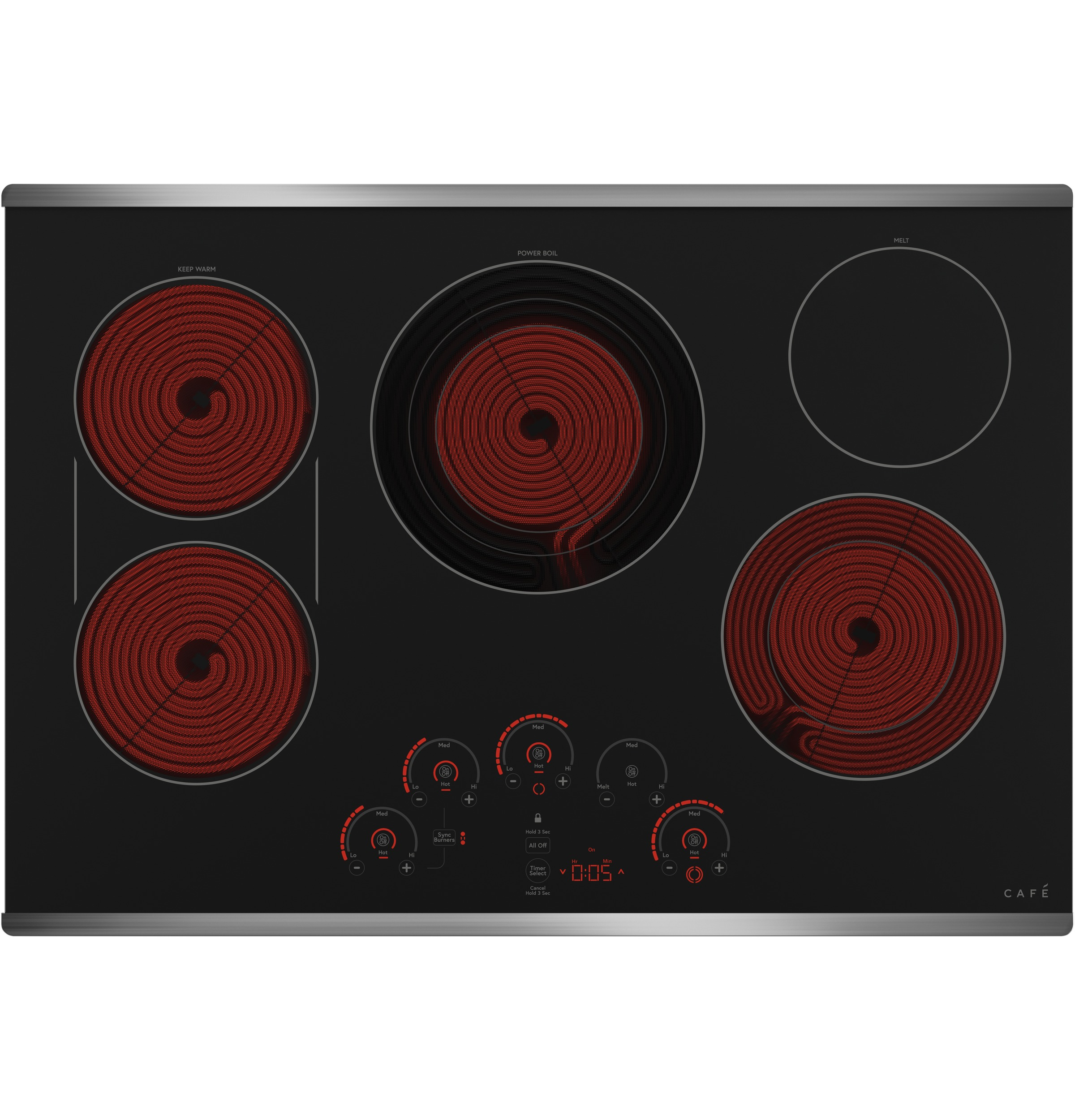 "Model: CEP90302NSS | Cafe Café™ 30"" Touch-Control Electric Cooktop"