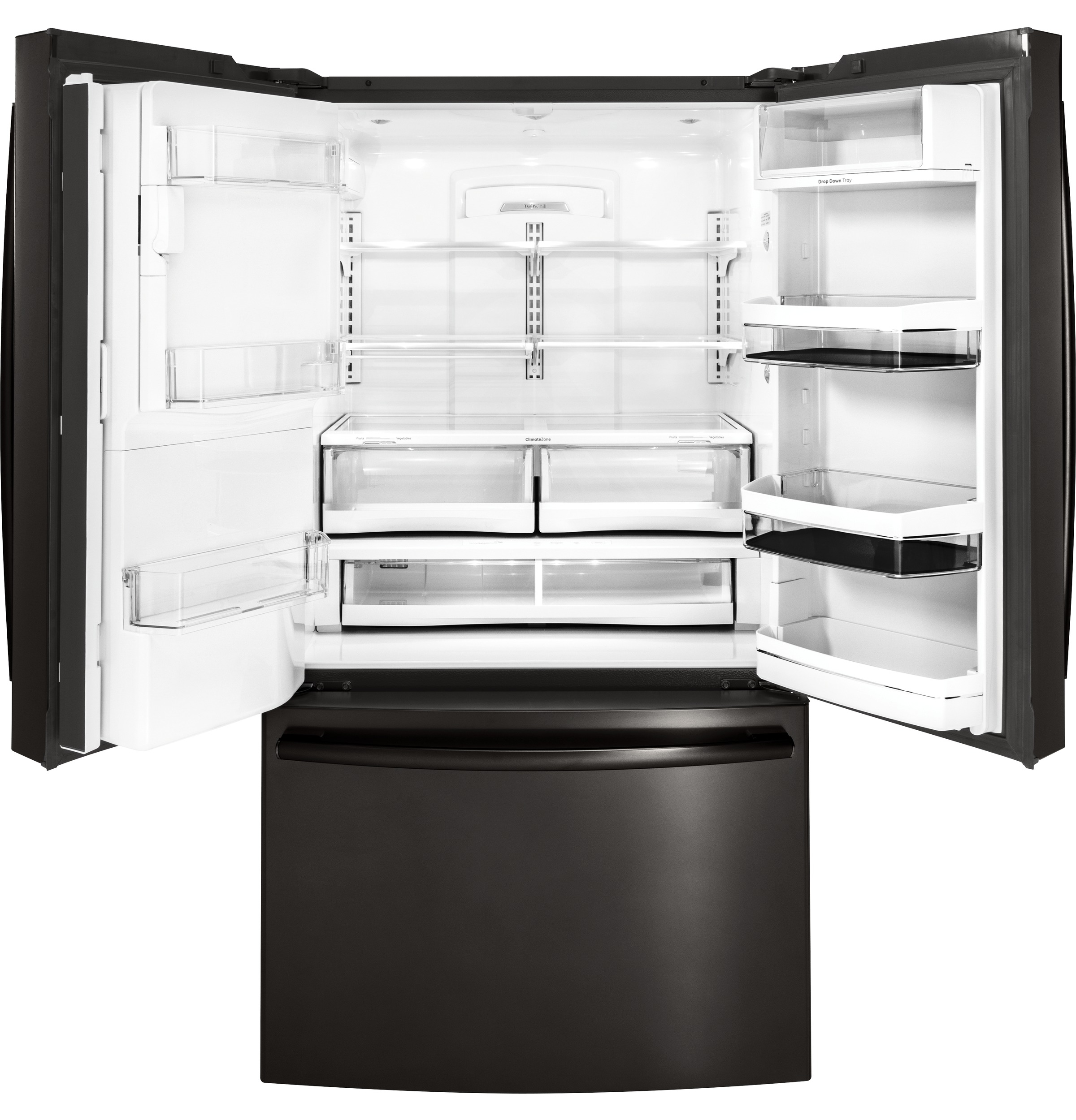 Model: PYE22PBLTS   GE Profile™ Series ENERGY STAR® 22.2 Cu. Ft. Counter-Depth French-Door Refrigerator with Keurig® K-Cup® Brewing System