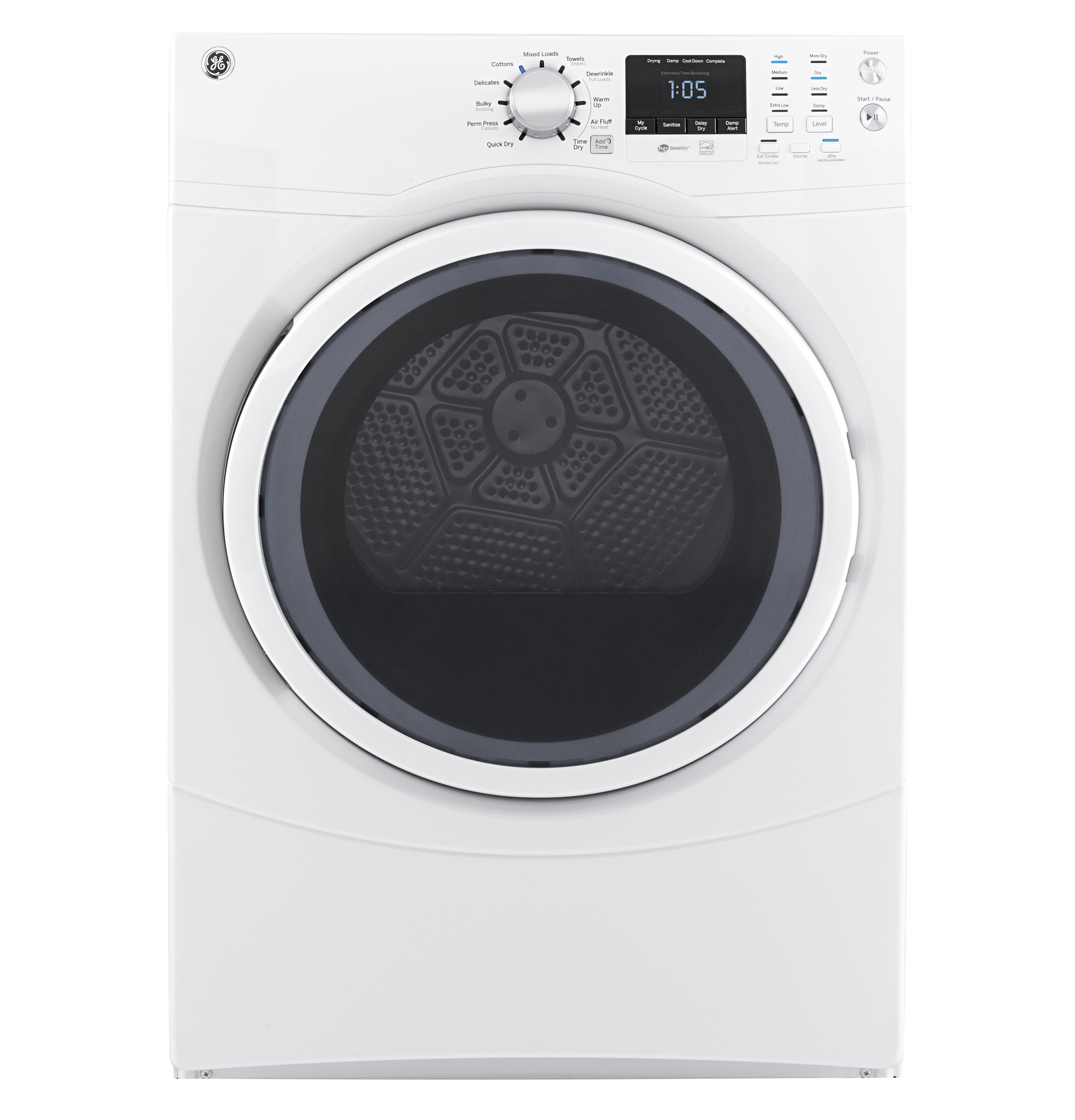 Model: GFD43ESSMWW | GE GE® 7.5 cu. ft. Capacity Front Load Electric Dryer