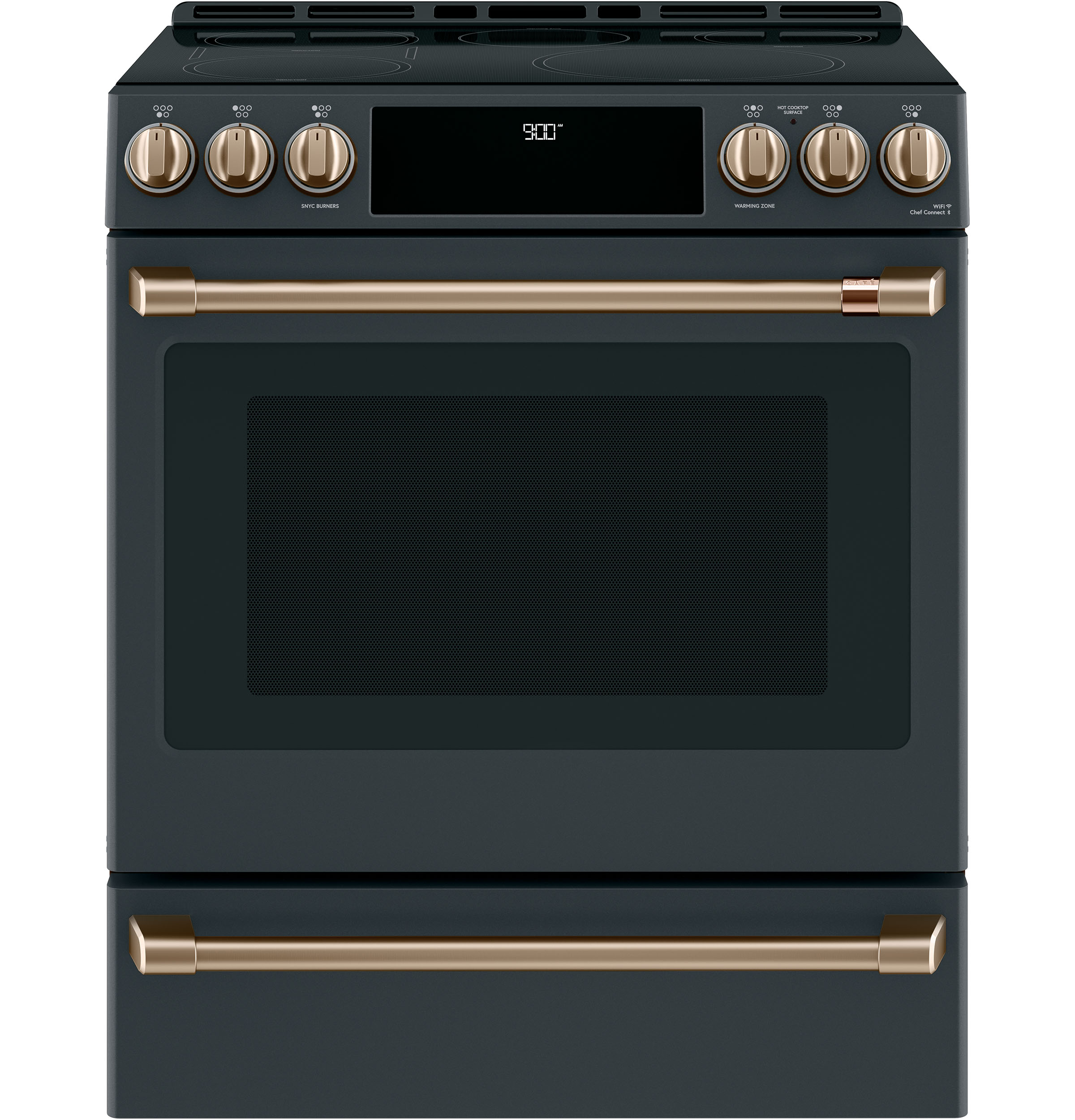 "Model: CHS900P3MD1 | Cafe Café™ 30"" Smart Slide-In, Front-Control, Induction and Convection Range with Warming Drawer"