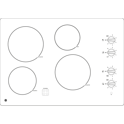 "Model: JP3030DJBB | GE GE® 30"" Built-In Knob Control Electric Cooktop"