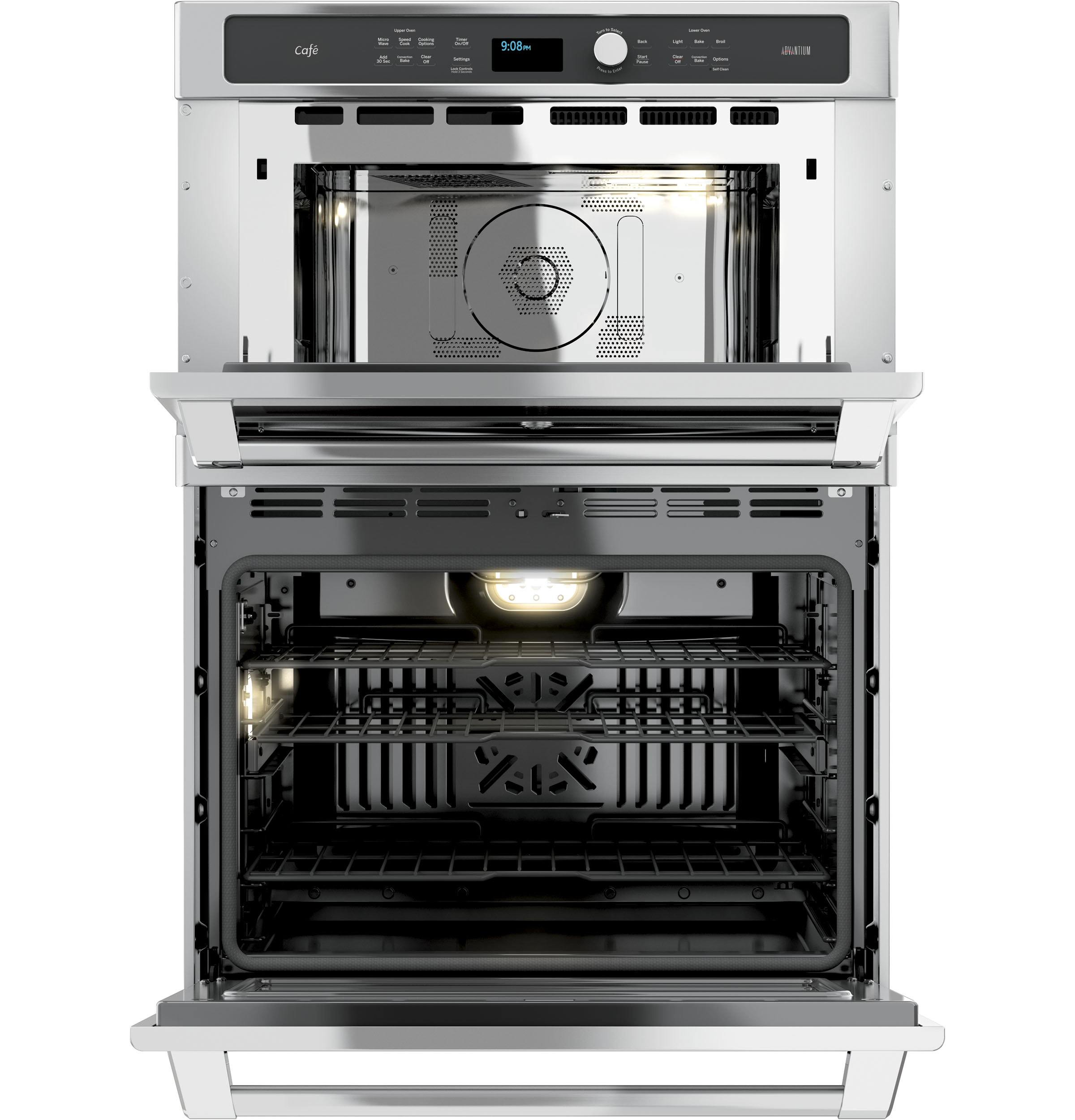 Model: CT9800SHSS | GE Cafe GE Café™ Series 30 in. Combination Double Wall Oven with Convection and Advantium® Technology