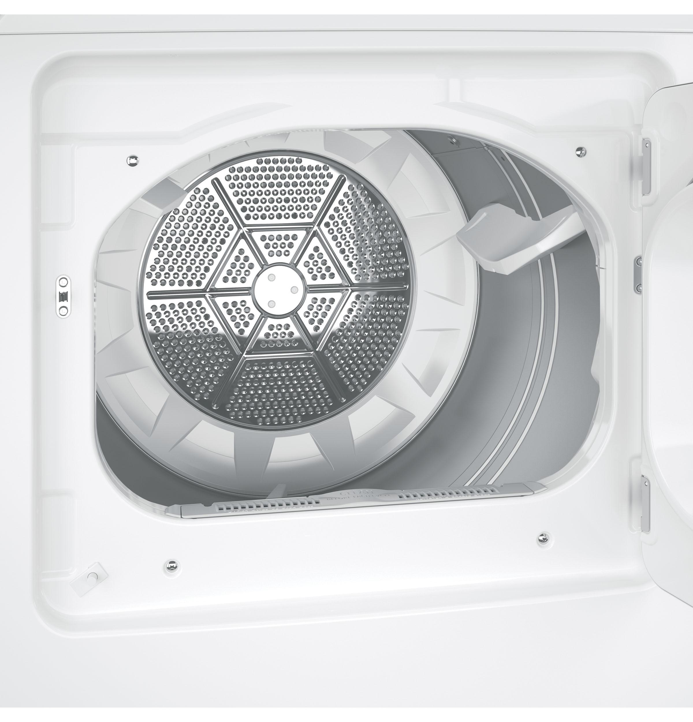 Model: GTX33EASKWW | GE GE® 6.2 cu. ft. Capacity aluminized alloy drum Electric Dryer