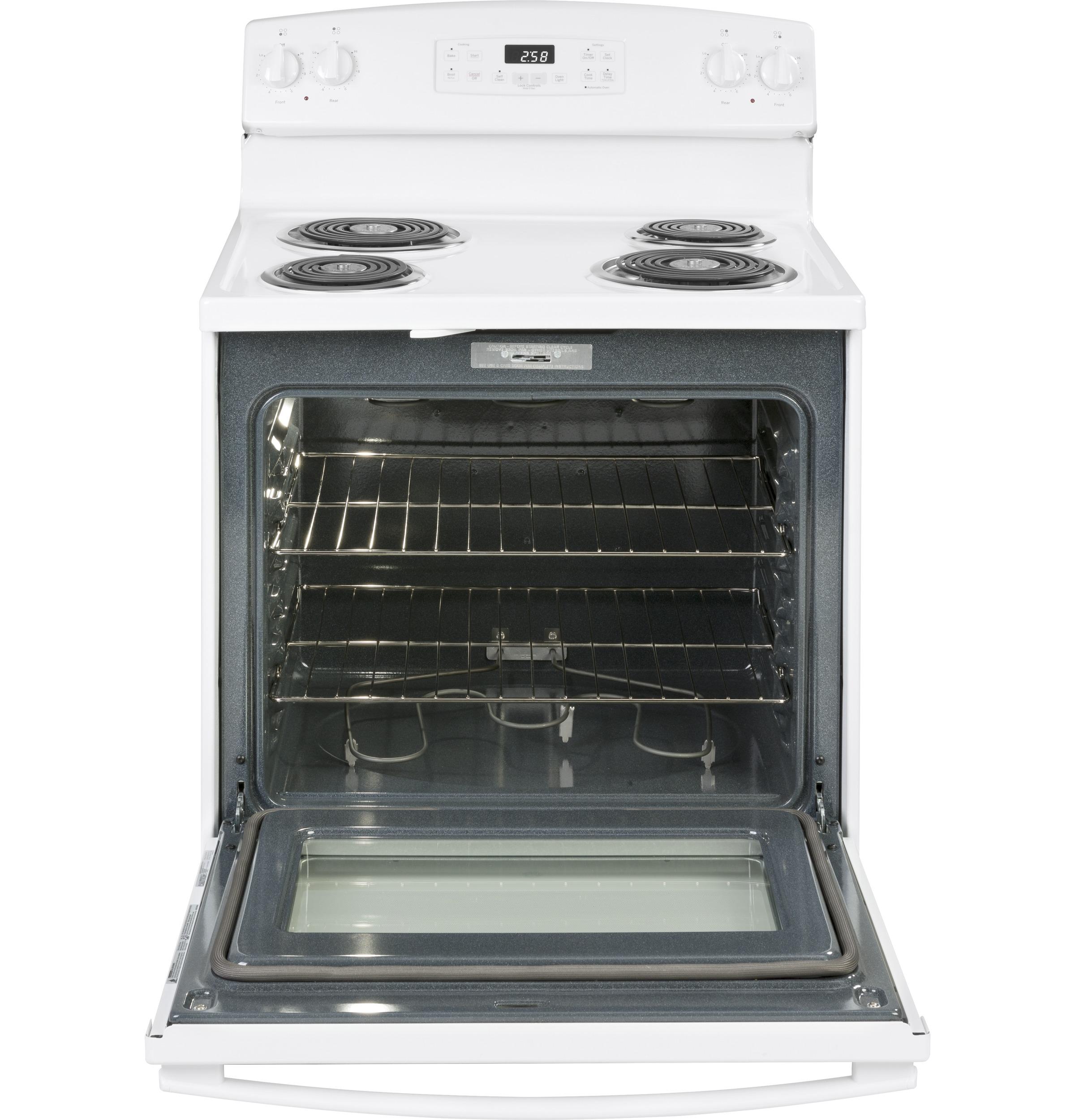"Model: JB258DMWW   GE GE® 30"" Free-Standing Self-Clean Electric Range"