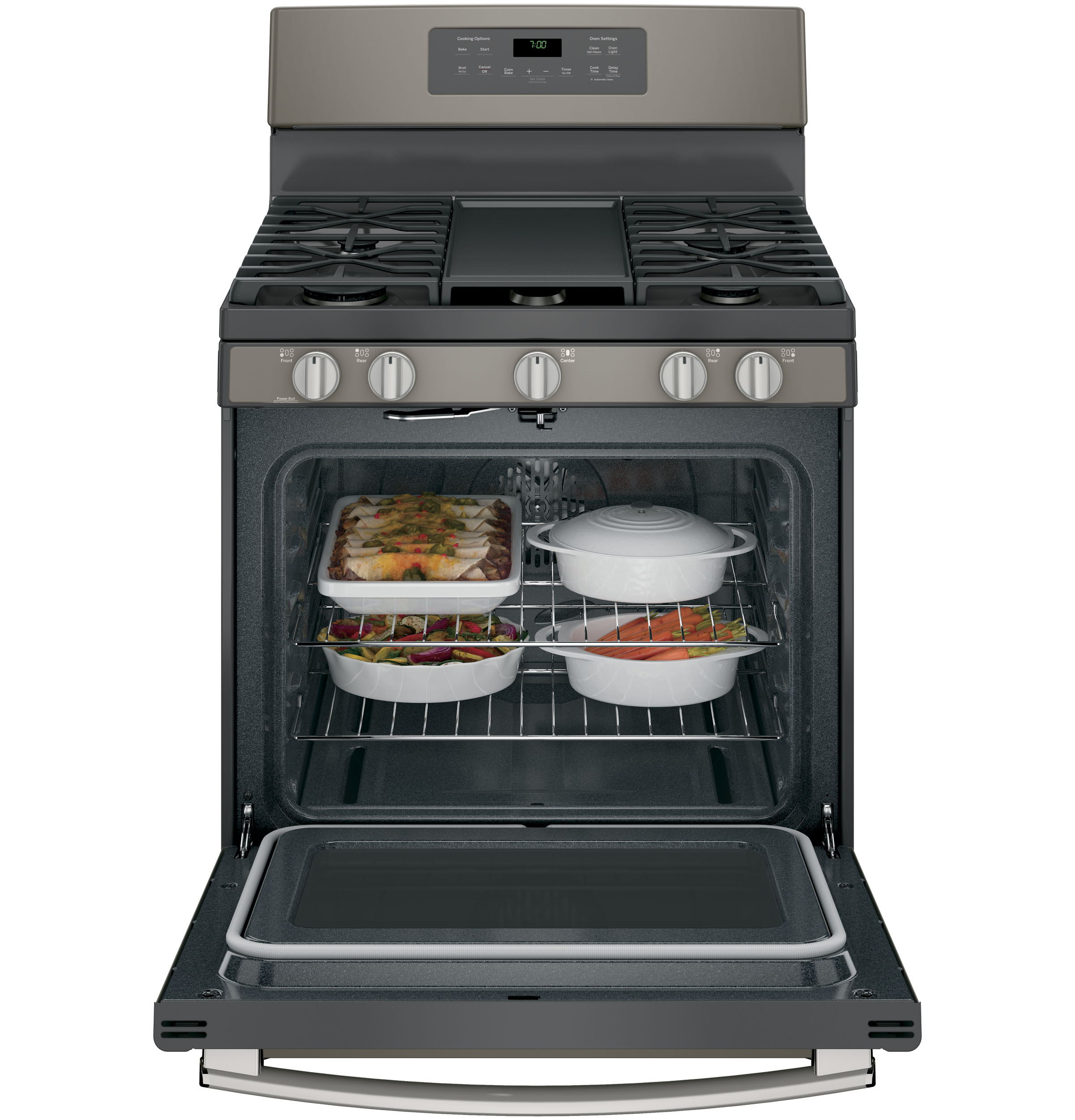 "Model: JGB700EEJES | GE GE® 30"" Free-Standing Gas Convection Range"
