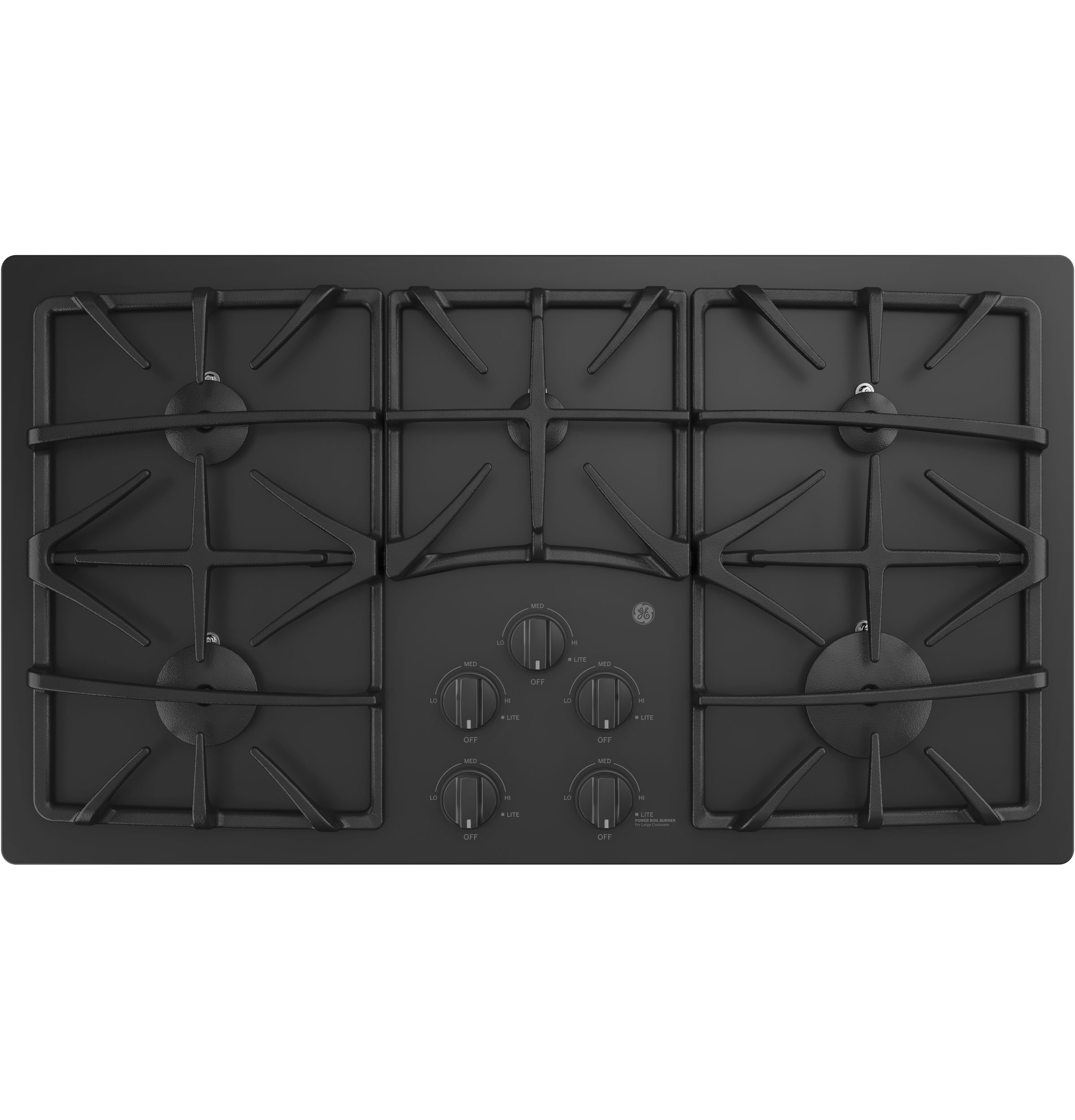 "GE GE® 36"" Built-In Gas on Glass Cooktop with 5 Burners and Dishwasher Safe Grates"
