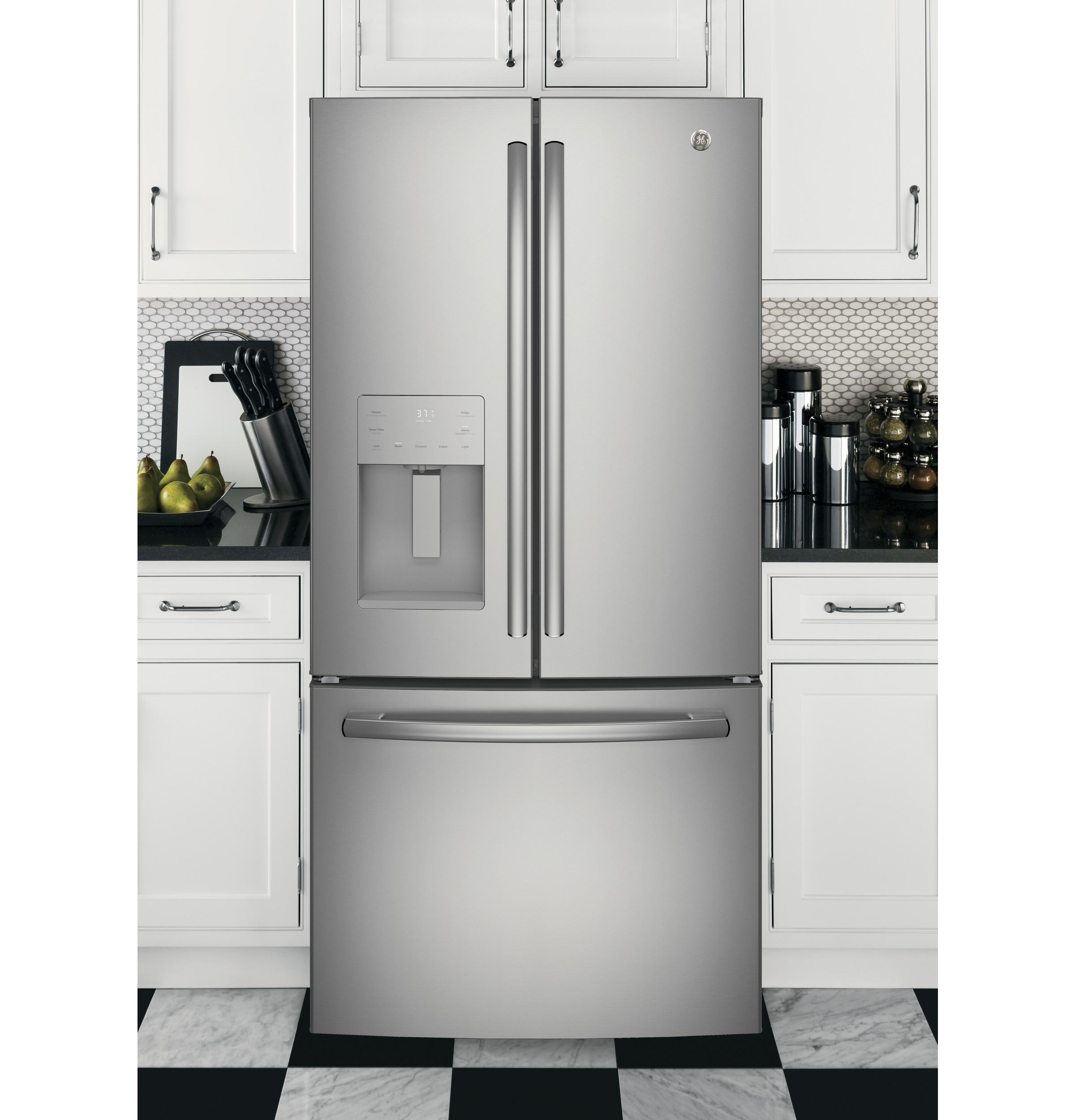 Model: GYE18JSLSS | GE® ENERGY STAR® 17.5 Cu. Ft. Counter-Depth French-Door Refrigerator