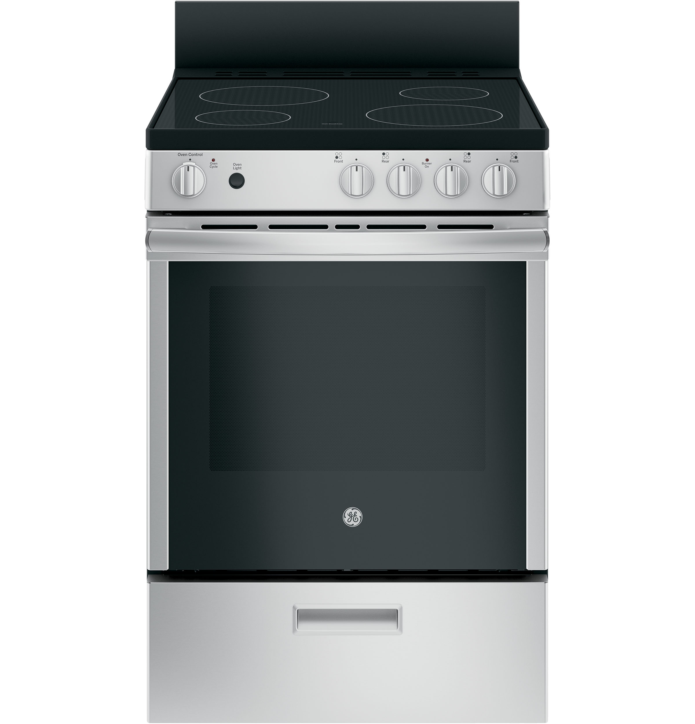 """GE GE® 24"""" Free-Standing/Slide-in Front Control Range with Steam Clean and Large Window"""