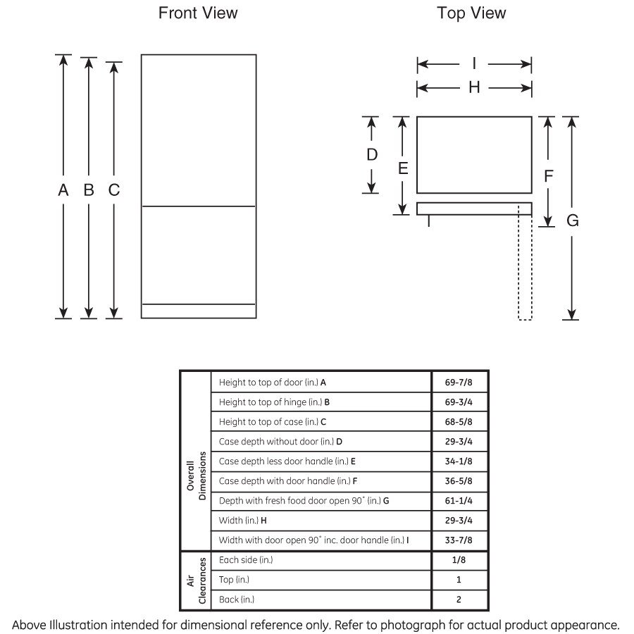 Model: GBE21DGKWW | GE GE® ENERGY STAR® 21.0 Cu. Ft. Bottom-Freezer Refrigerator