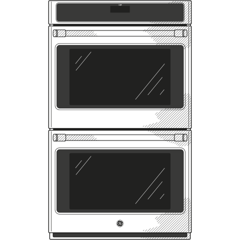 "Model: CT9550SHSS-FM | GE Cafe GE Café™ Series 30"" Built-In Double Convection Wall Oven"