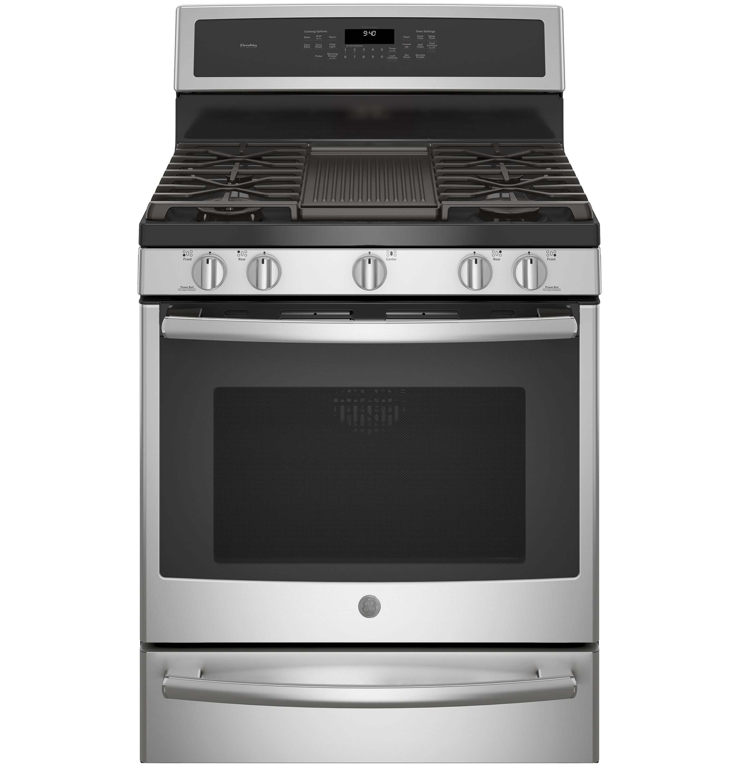 """Profile GE Profile™ 30"""" Smart  Dual-Fuel Free-Standing Convection Range with Warming Drawer"""
