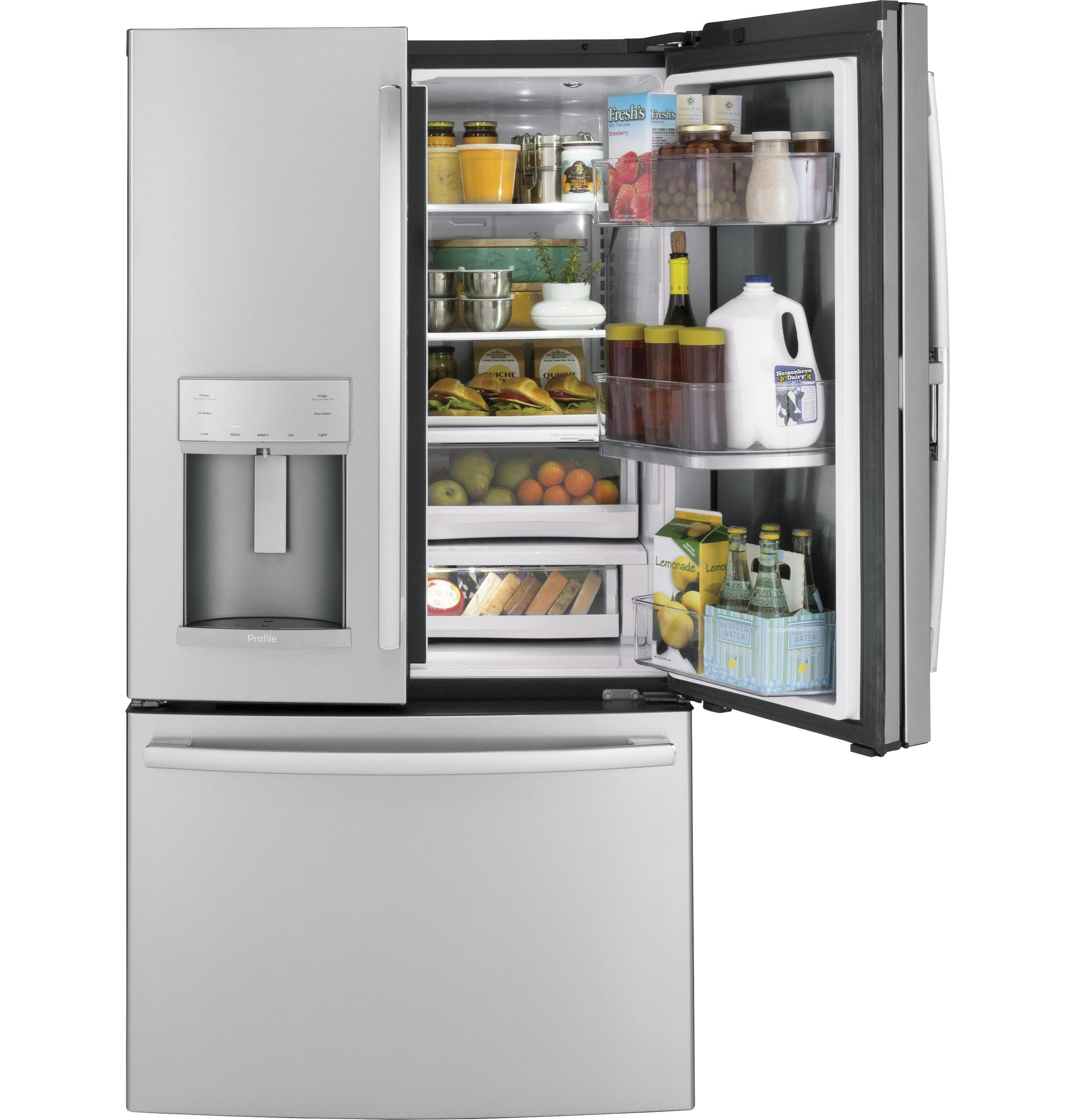 Model: PFD28KSLSS | GE Profile™ Series 27.8 Cu. Ft. French-Door Refrigerator with Door In Door and Hands-Free AutoFill