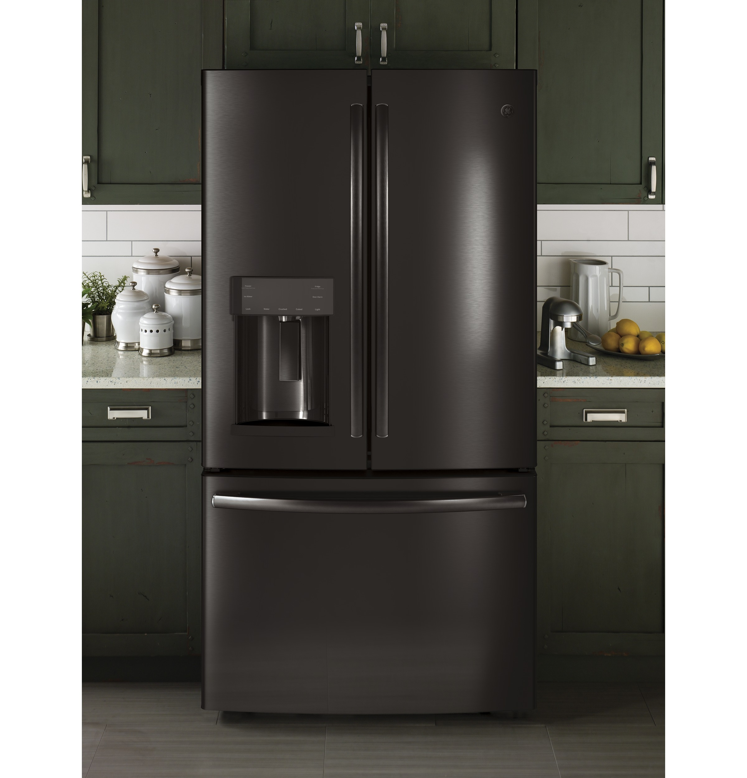 Model: GYE22HBLTS | GE GE® ENERGY STAR® 22.2 Cu. Ft. Counter-Depth French-Door Refrigerator