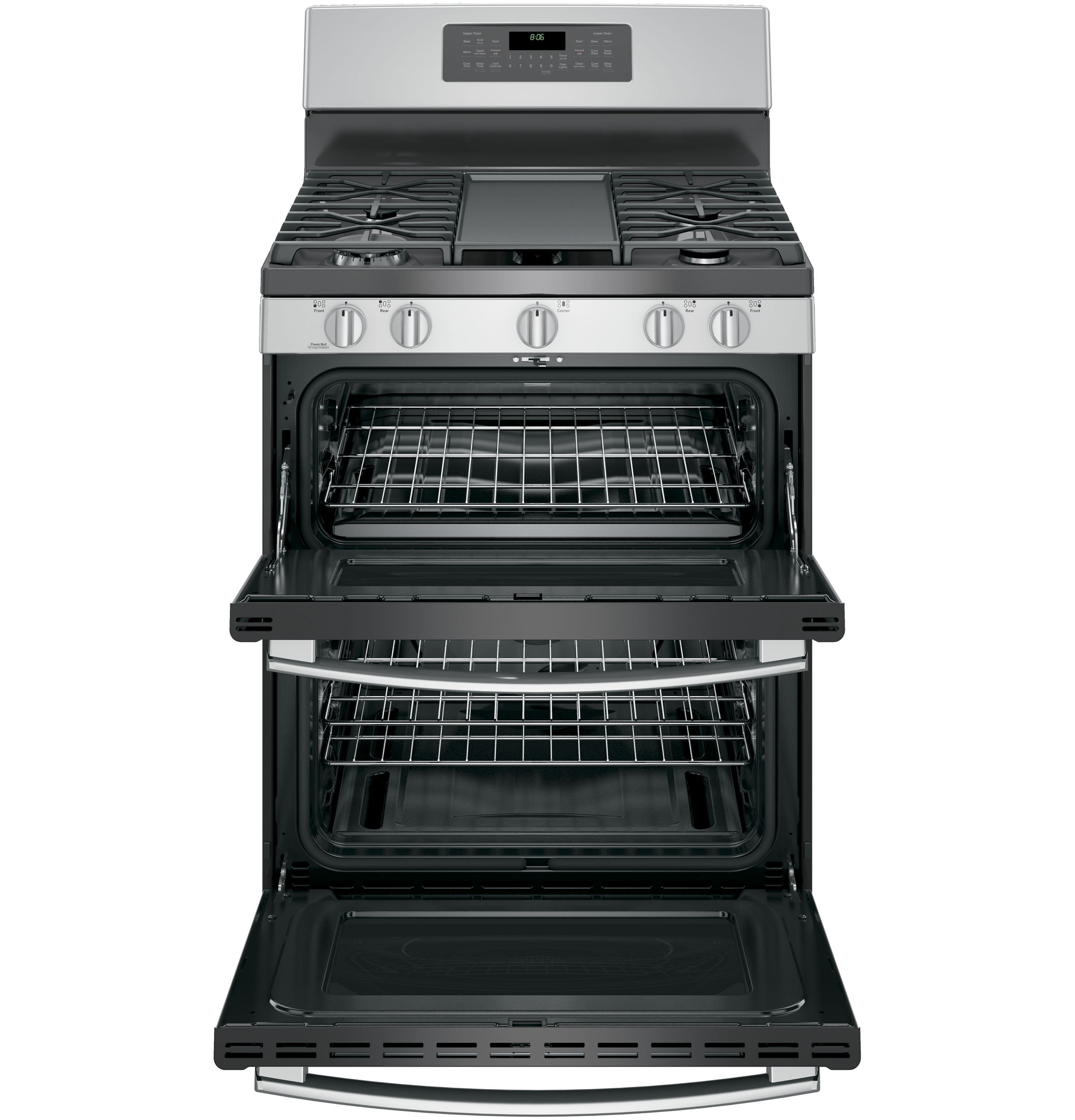"Model: JGB860SEJSS | GE GE® 30"" Free-Standing Gas Double Oven Convection Range"