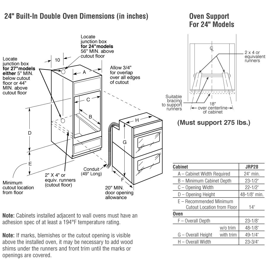 "Model: JRP28BJBB | GE GE® 24"" Double Wall Oven"