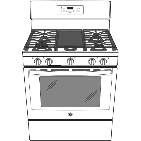 "Model: JGB700DEJWW | GE GE® 30"" Free-Standing Gas Convection Range"