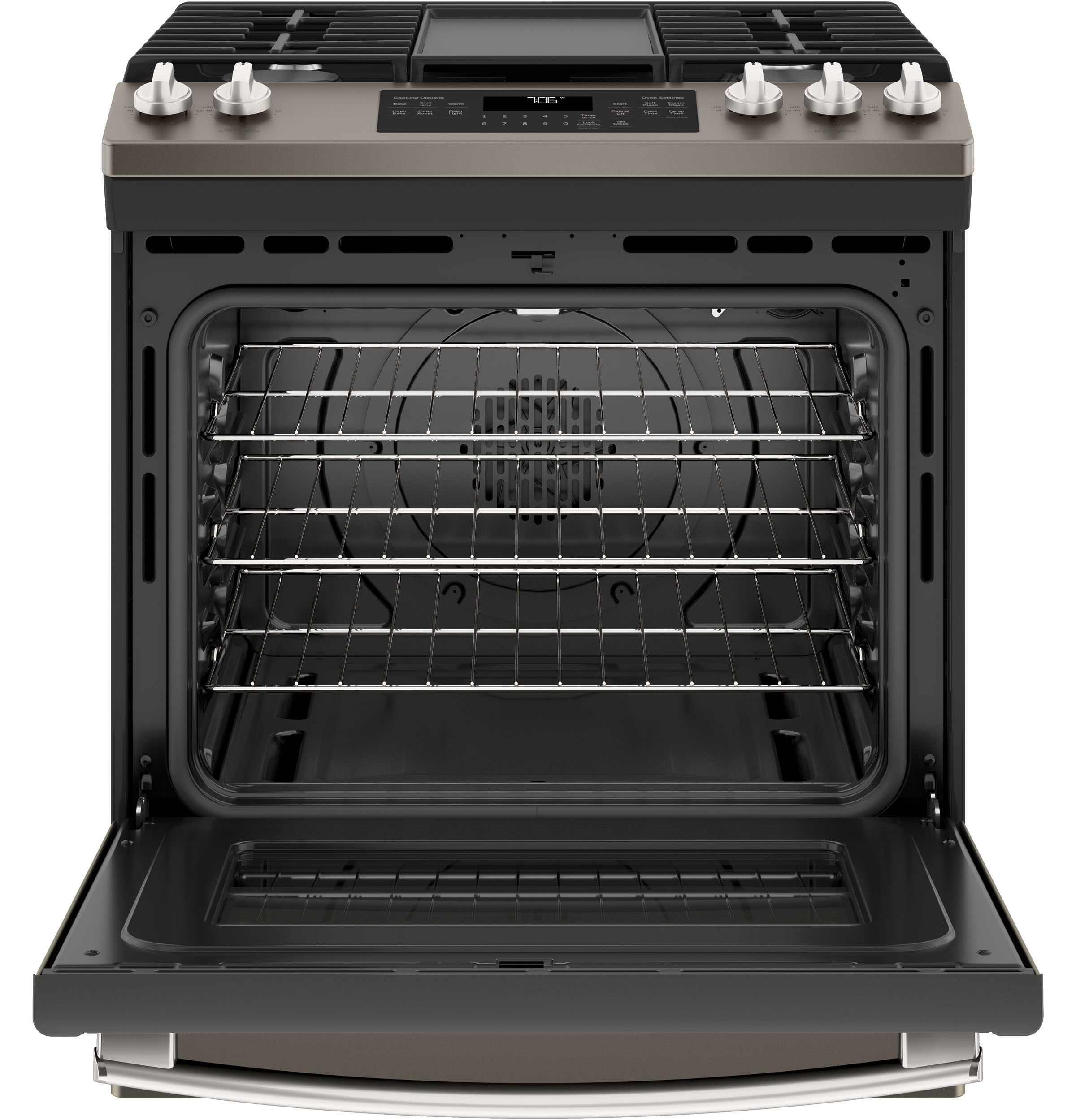 "Model: JGS760EELES | GE GE® 30"" Slide-In Front-Control Convection Gas Range"
