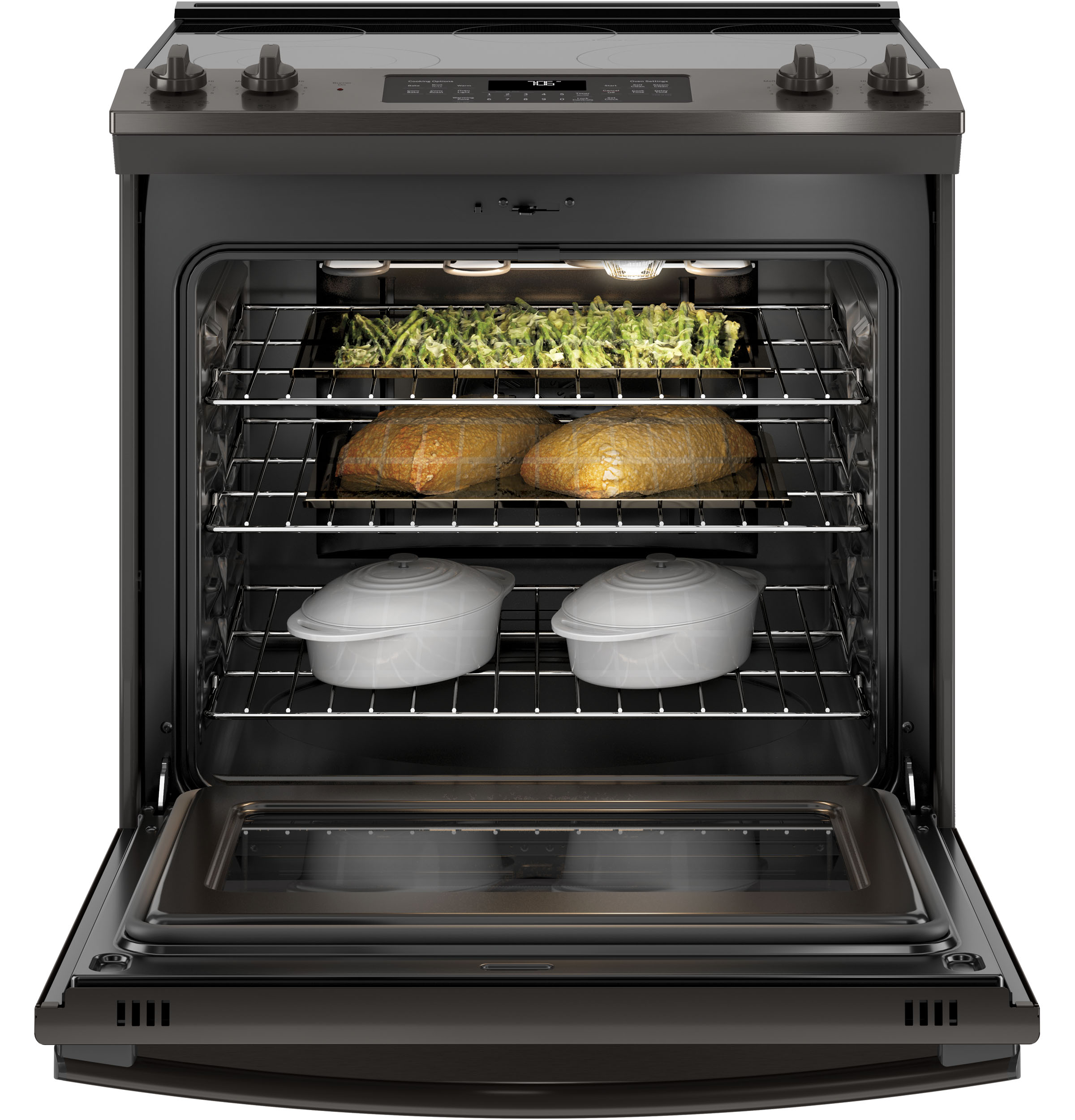"Model: JS760BLTS | GE GE® 30"" Slide-In Electric Convection Range"