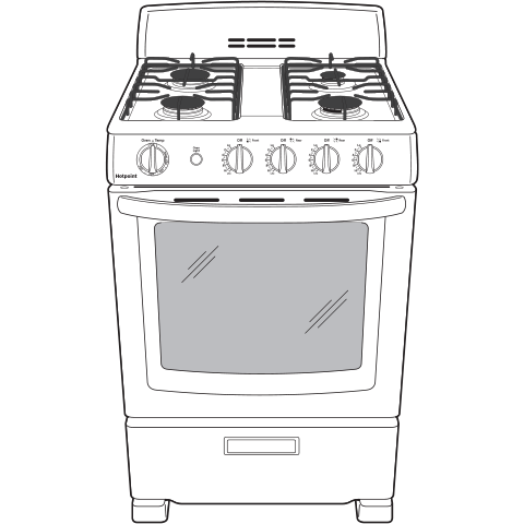"Model: RGAS300DMWW | Hotpoint Hotpoint® 24"" Front-Control Free-Standing Gas Range with Large Window"