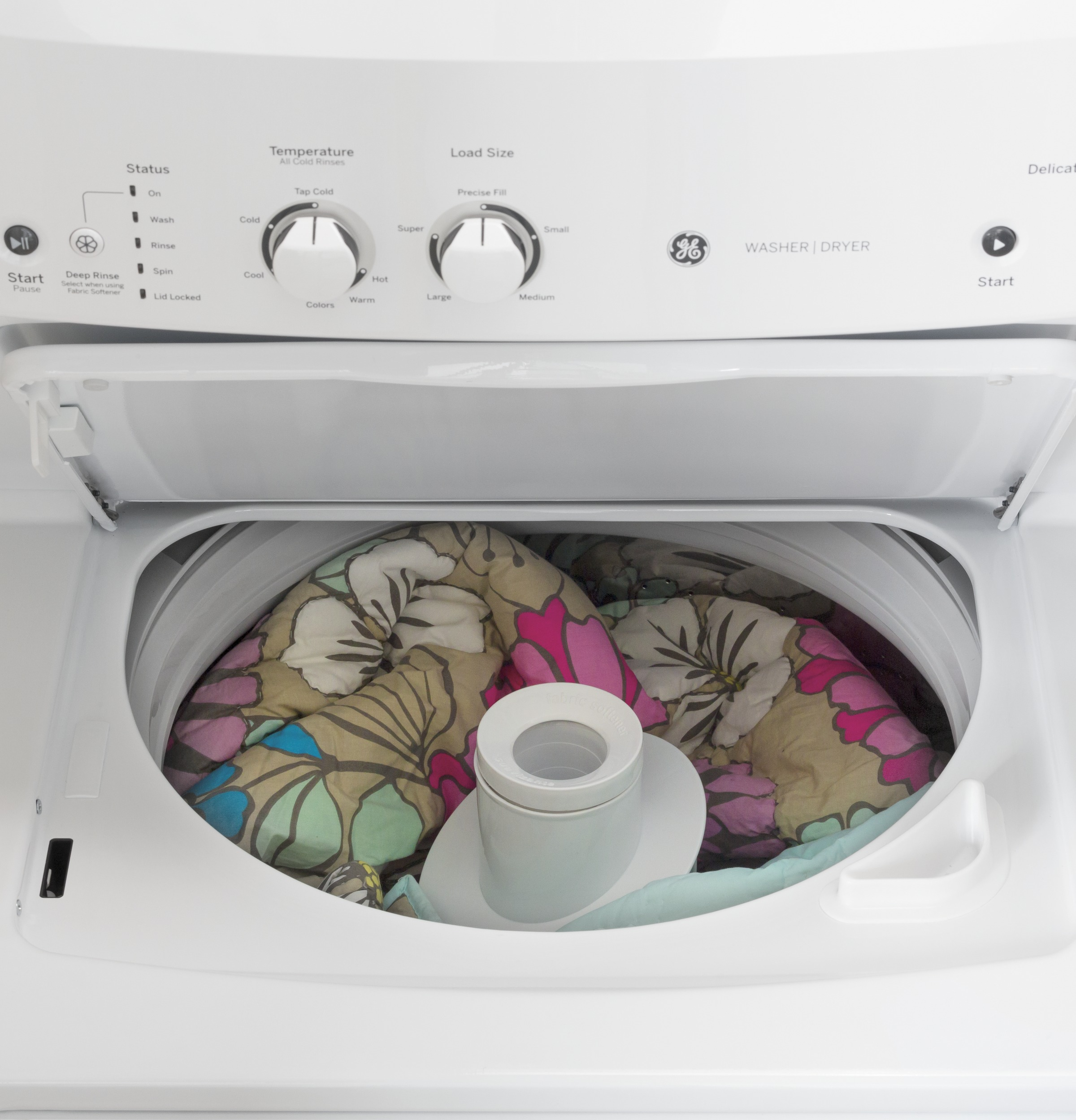 Model: GUV27ESSMWW | GE GE Unitized Spacemaker® 3.8 cu. ft. Capacity Washer with Stainless Steel Basket and 5.9 cu. ft. Capacity Long Vent Electric Dryer