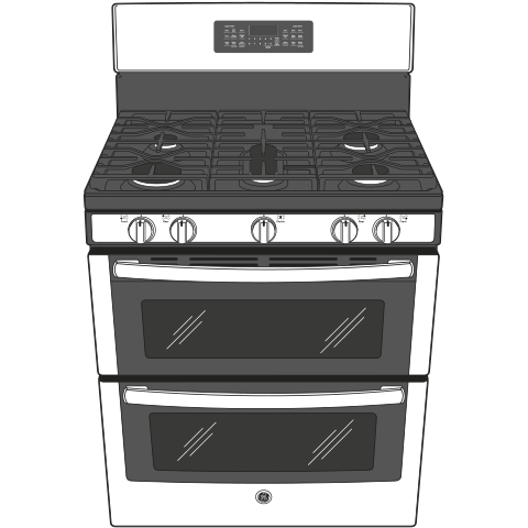 "Model: JGB860BEJTS | GE GE® 30"" Free-Standing Gas Double Oven Convection Range"
