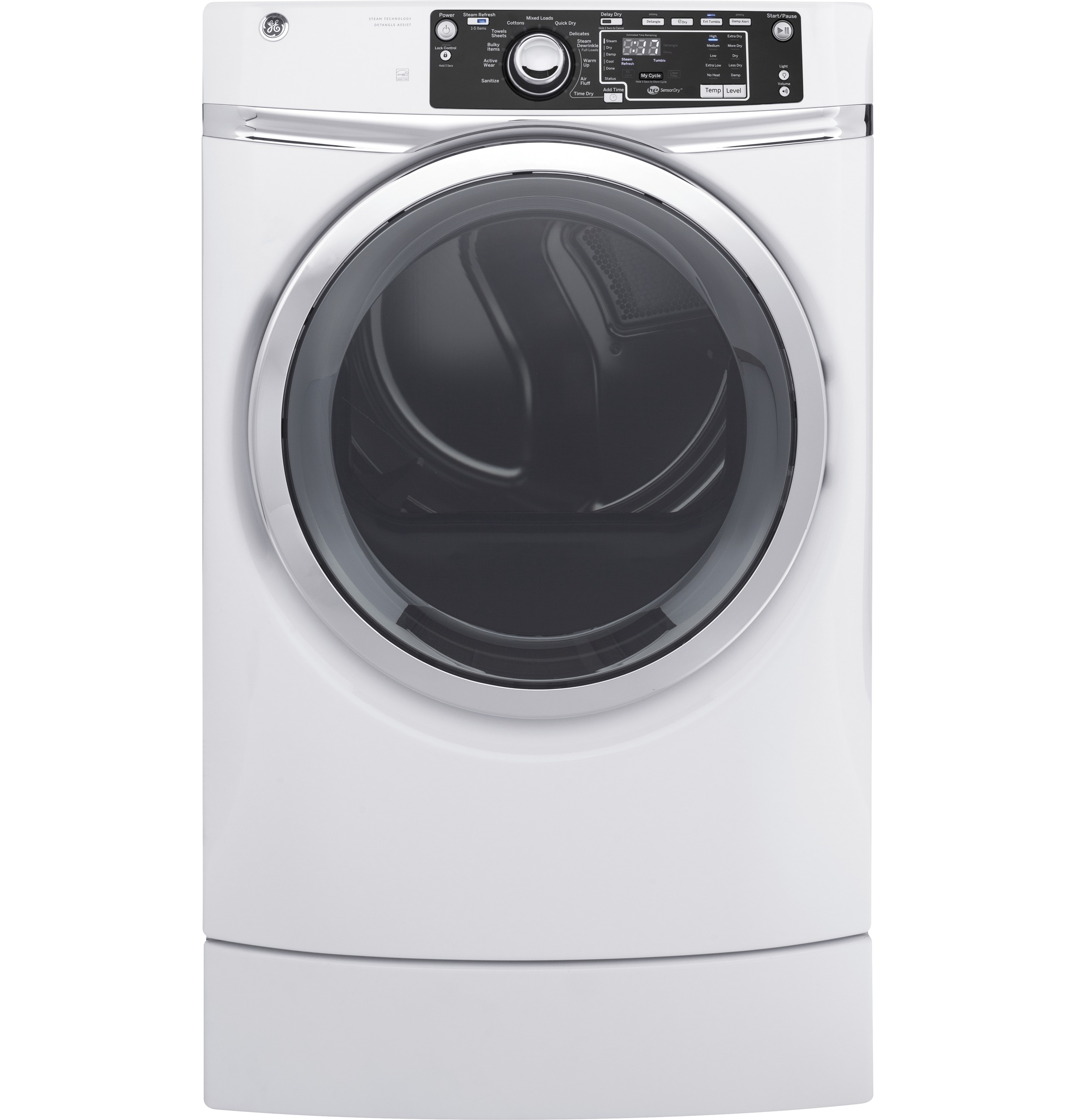 GE GE® 8.3 cu. ft. Capacity RightHeight™ Front Load Electric ENERGY STAR® Dryer with Steam