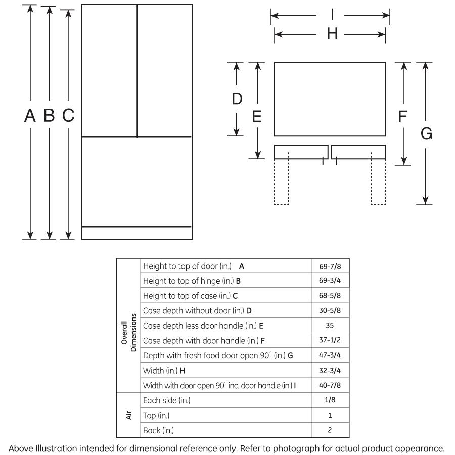 Model: GFE24JMKES | GE GE® ENERGY STAR® 23.6 Cu. Ft. French-Door Refrigerator