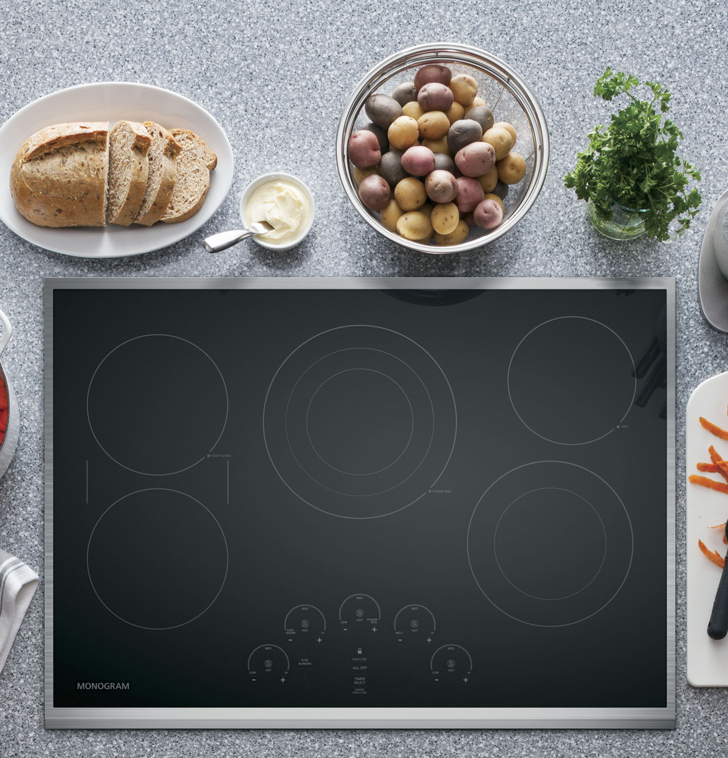 "Model: ZEU30RSJSS | Monogram Monogram 30"" Touch Control Electric Cooktop"