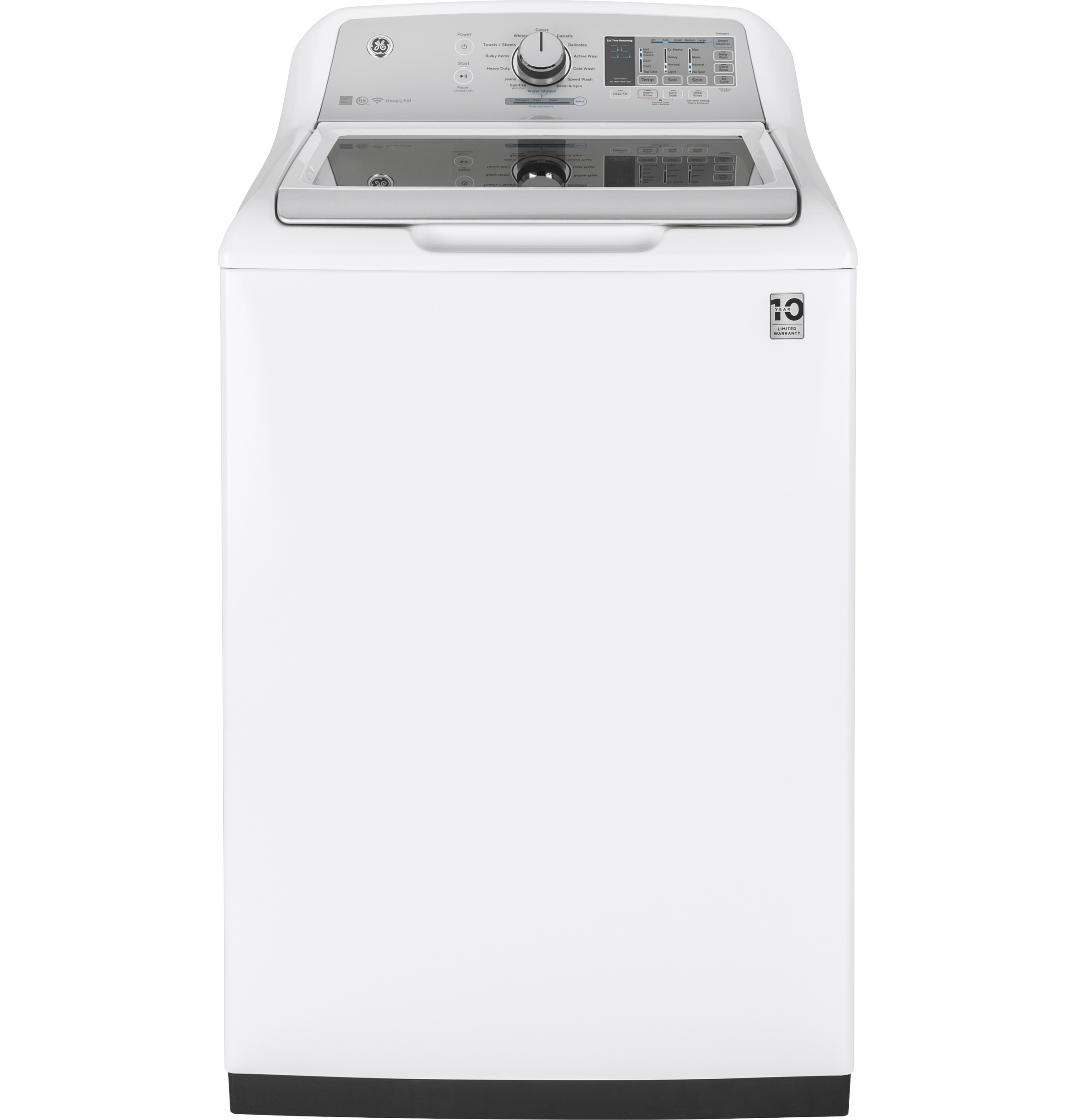 Model: GTW750CSLWS | GE GE® 5.0  cu. ft. Capacity Smart Washer with Stainless Steel Basket