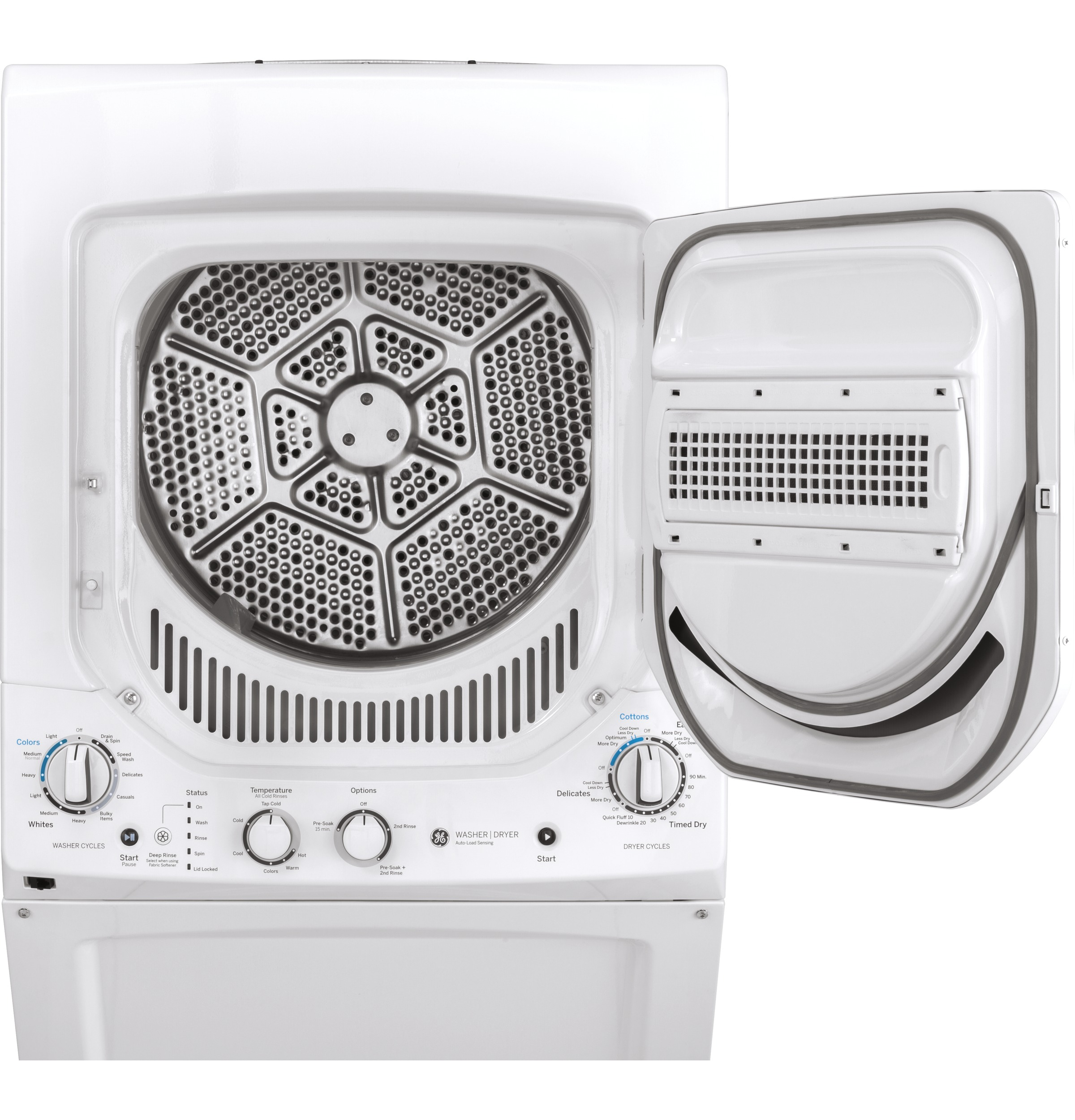 Model: GUD24GSSMWW | GE GE Unitized Spacemaker® 2.3 cu. ft. Capacity Washer with Stainless Steel Basket and 4.4 cu. ft. Capacity Gas Dryer