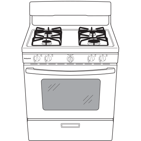 "Model: RGBS200DMWW | Hotpoint Hotpoint® 30"" Free-Standing Gas Range with Cordless Battery Ignition"