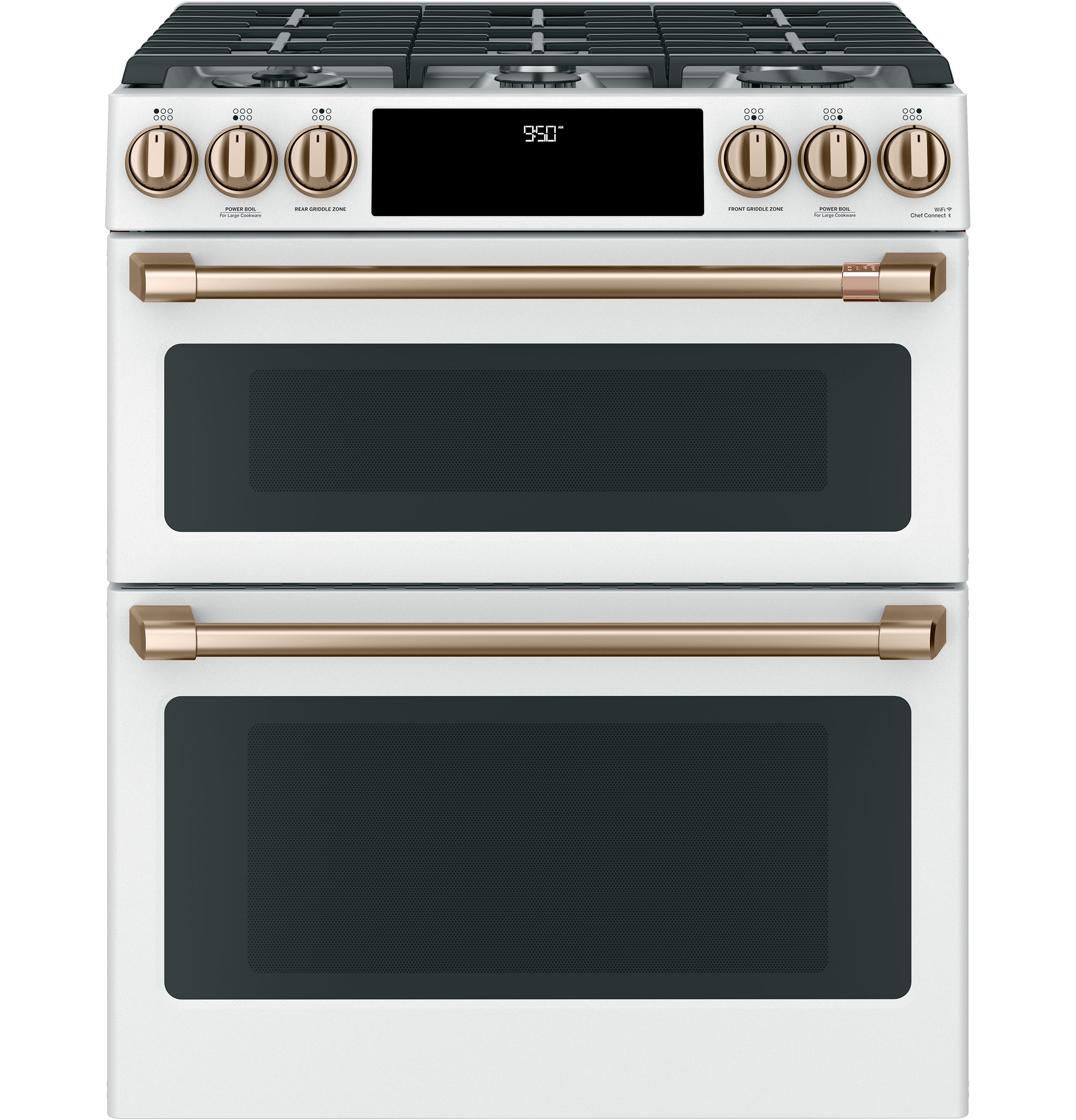 "Cafe Café™ 30"" Smart Slide-In, Front-Control, Dual-Fuel, Double-Oven Range with Convection"