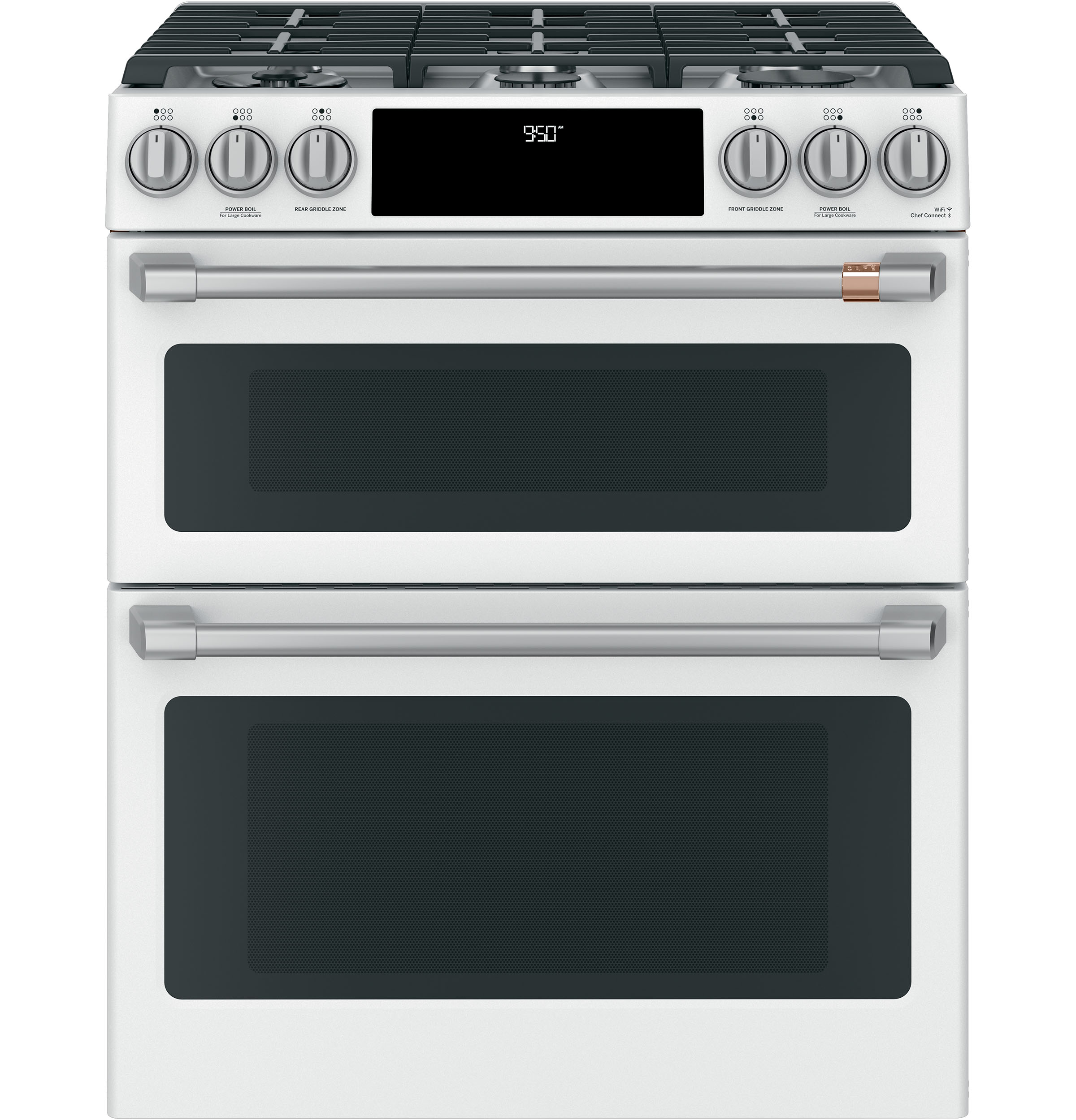 "Model: C2S950P4MW2 | Cafe Café™ 30"" Smart Slide-In, Front-Control, Dual-Fuel, Double-Oven Range with Convection"