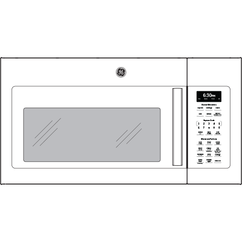 Model: JNM7196DKWW   GE GE® 1.9 Cu. Ft. Over-the-Range Sensor Microwave Oven with Recirculating Venting