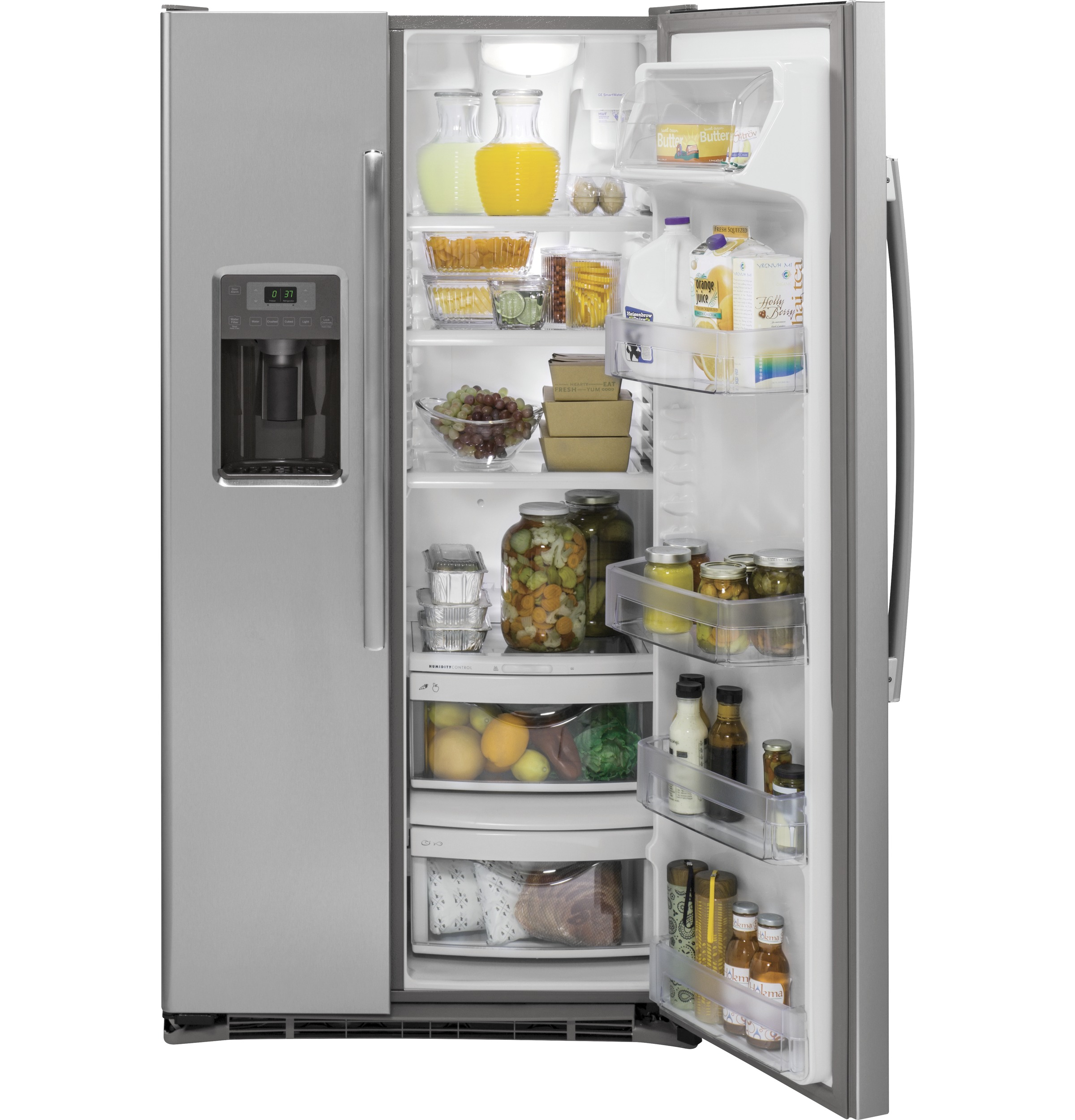 Model: GZS22DSJSS | GE GE® 21.9 Cu. Ft. Counter-Depth Side-By-Side Refrigerator