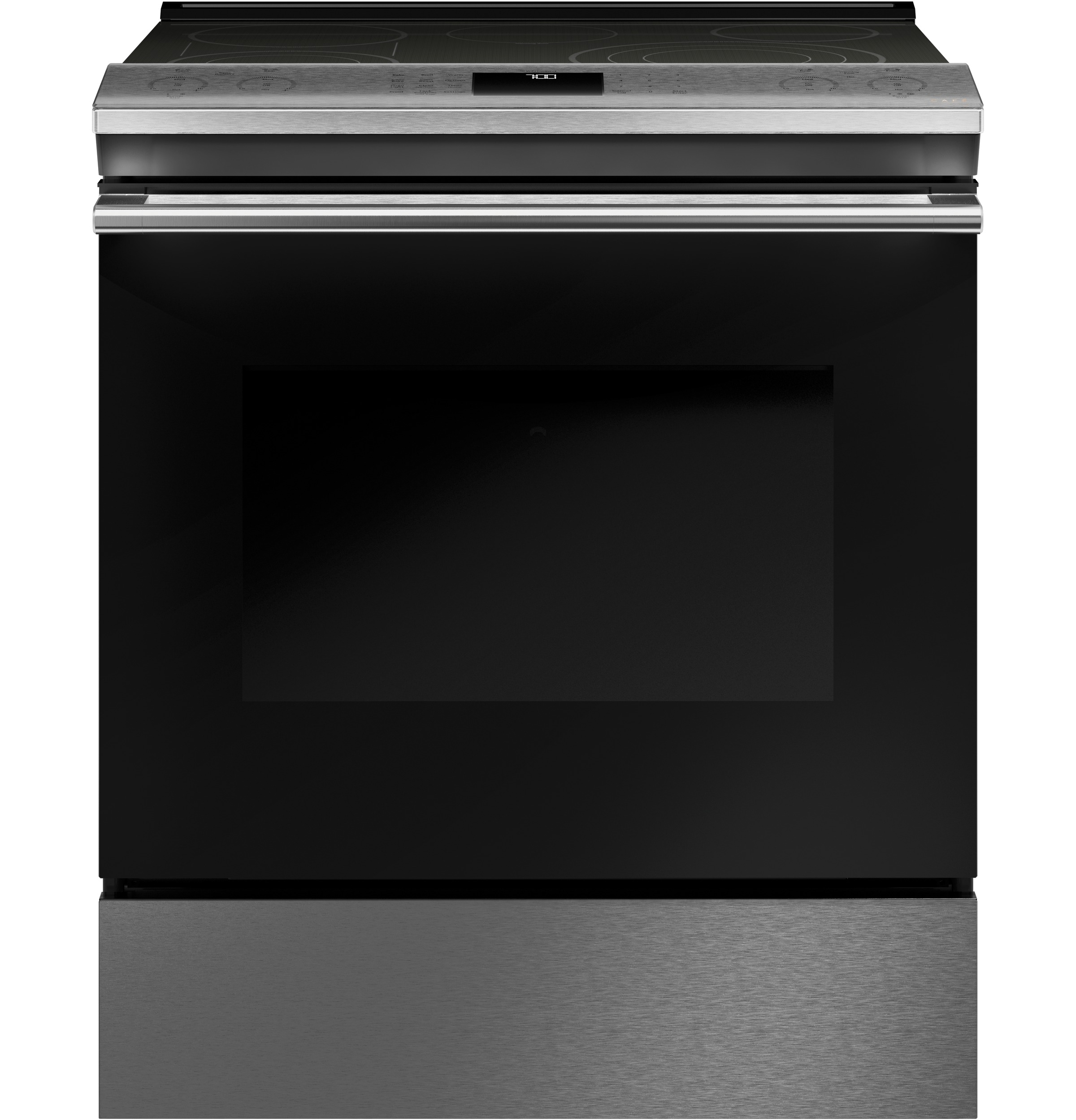 "Cafe Café™ 30"" Smart Slide-In, Front-Control, Radiant and Convection Range in Platinum Glass"