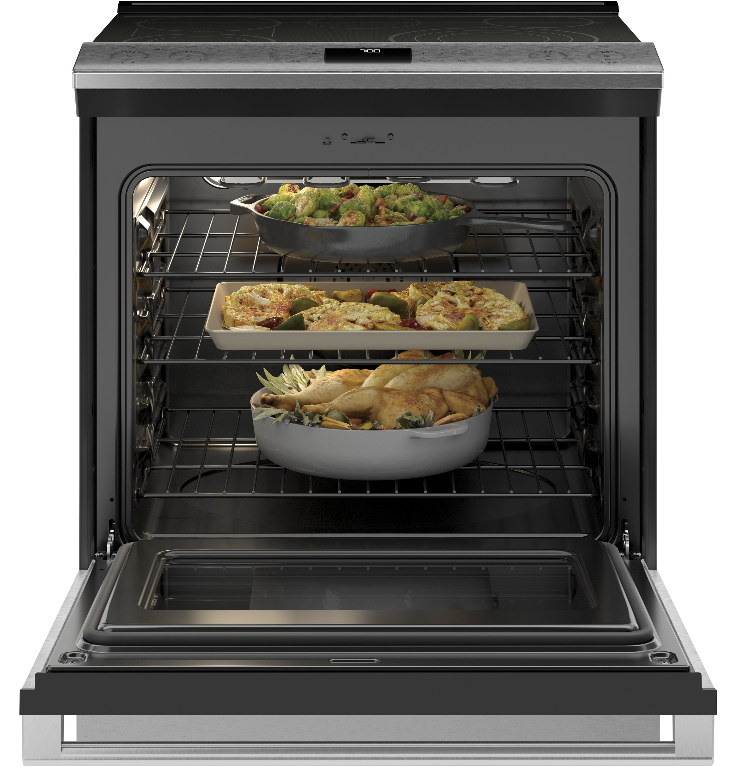 "Model: CES700M2NS5 | Cafe Café™ 30"" Smart Slide-In, Front-Control, Radiant and Convection Range in Platinum Glass"