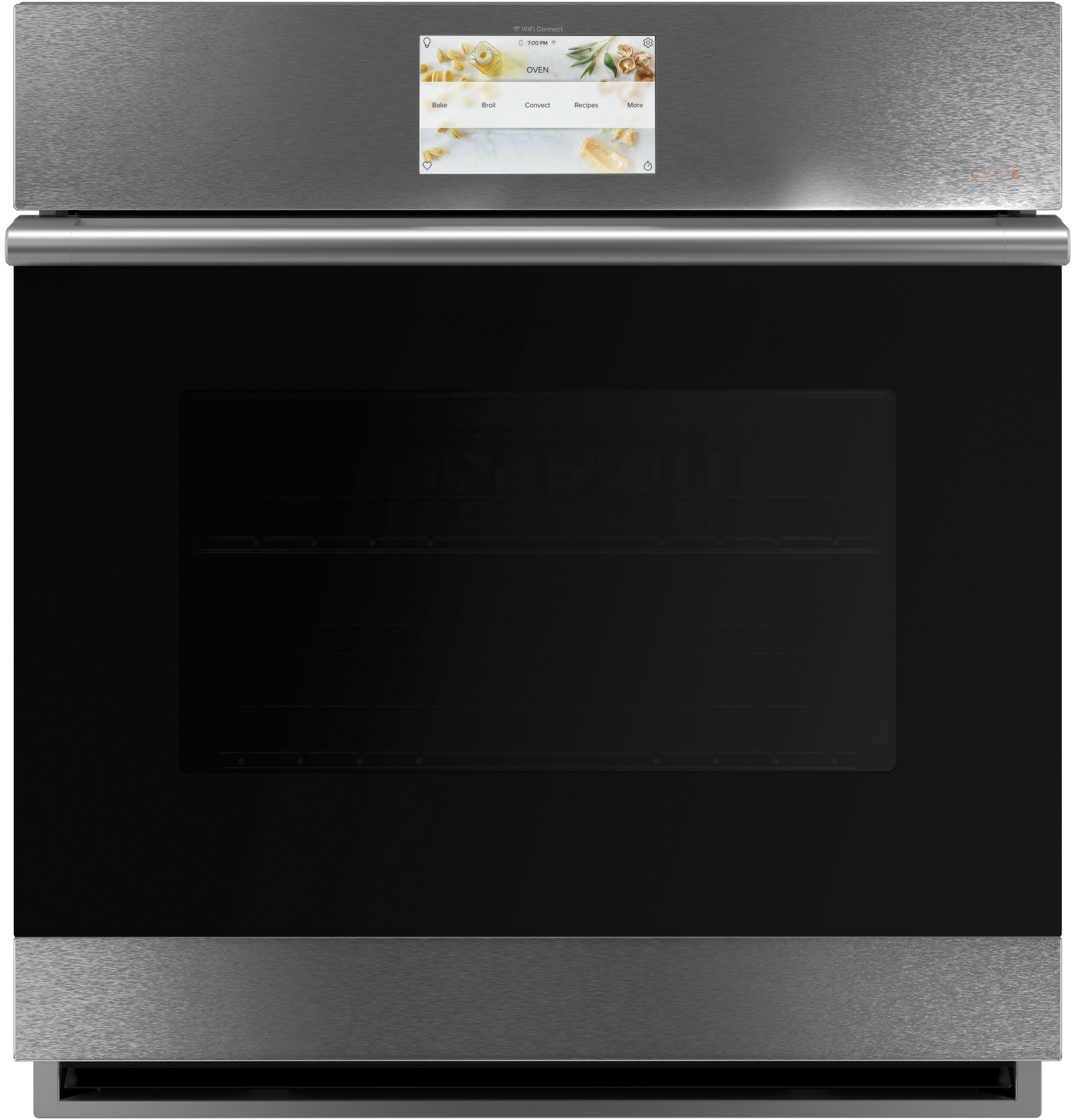 "Cafe Café™ 27"" Smart Single Wall Oven with Convection in Platinum Glass"