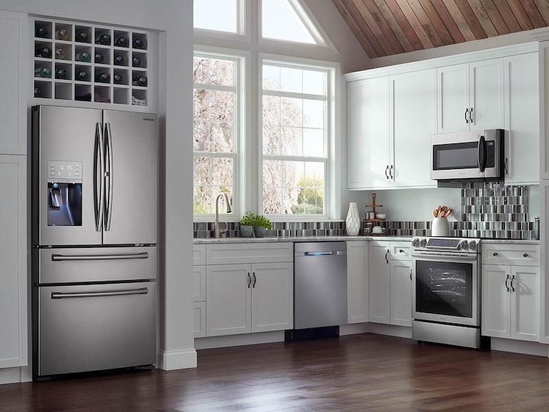 Model: RF22KREDBSR | Samsung 22 cu. ft. Counter Depth 4-Door French Door Food Showcase Refrigerator