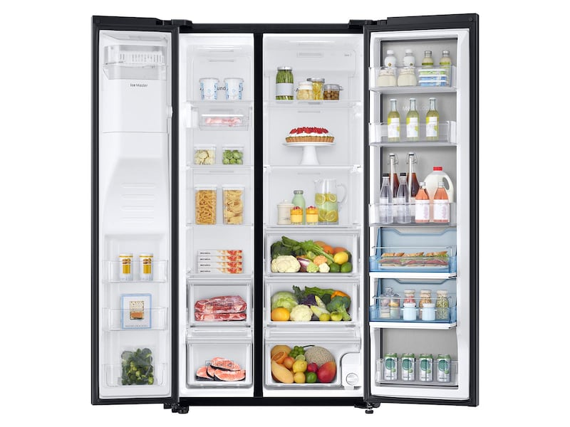 Model: RH22H9010SG   Samsung 22 cu. ft. Counter Depth Side-by-Side Food ShowCase Refrigerator with Metal Cooling