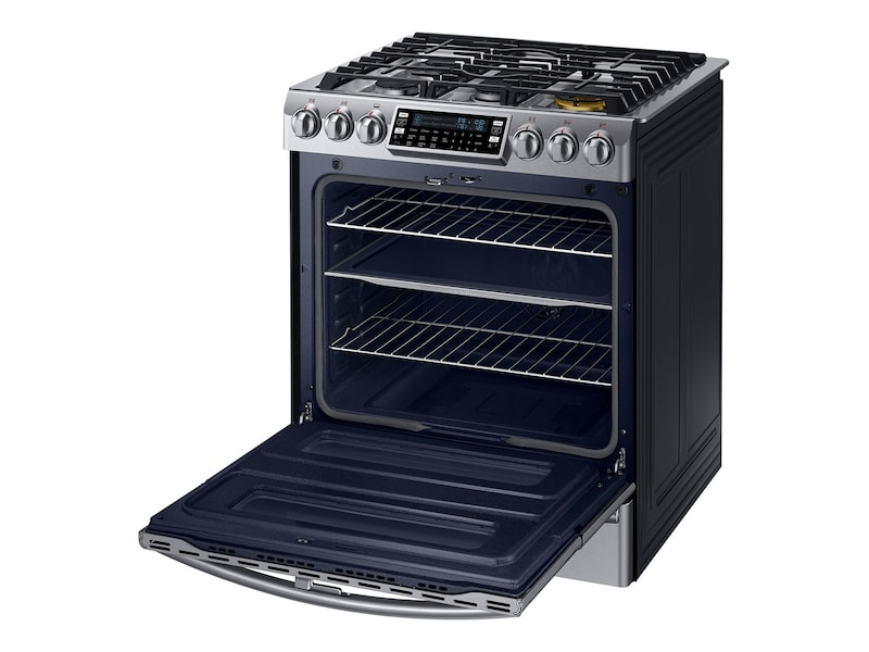 Model: NY58J9850WS | Samsung 5.8 cu. ft. Slide-in Dual Fuel Range with Flex Duo™ and Dual Door