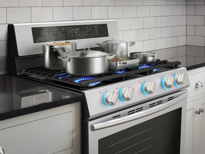 Model: NX58M6630SS | Samsung 5.8 cu. ft. Freestanding Gas Range with True Convection in Stainless Steel