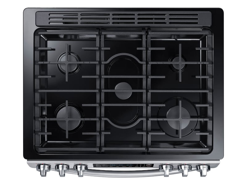 Model: NX58M9420SS | Samsung 5.8 cu. ft. Slide-in Gas Range with Fan Convection in Stainless Steel