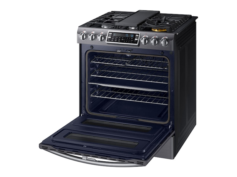 Model: NX58K9850SG | Samsung 5.8 cu. ft. Slide-In Gas Flex Duo™ Range with Dual Door