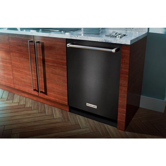 Model: KDTM404EBS | KitchenAid 44 dBA Dishwasher with Dynamic Wash Arms