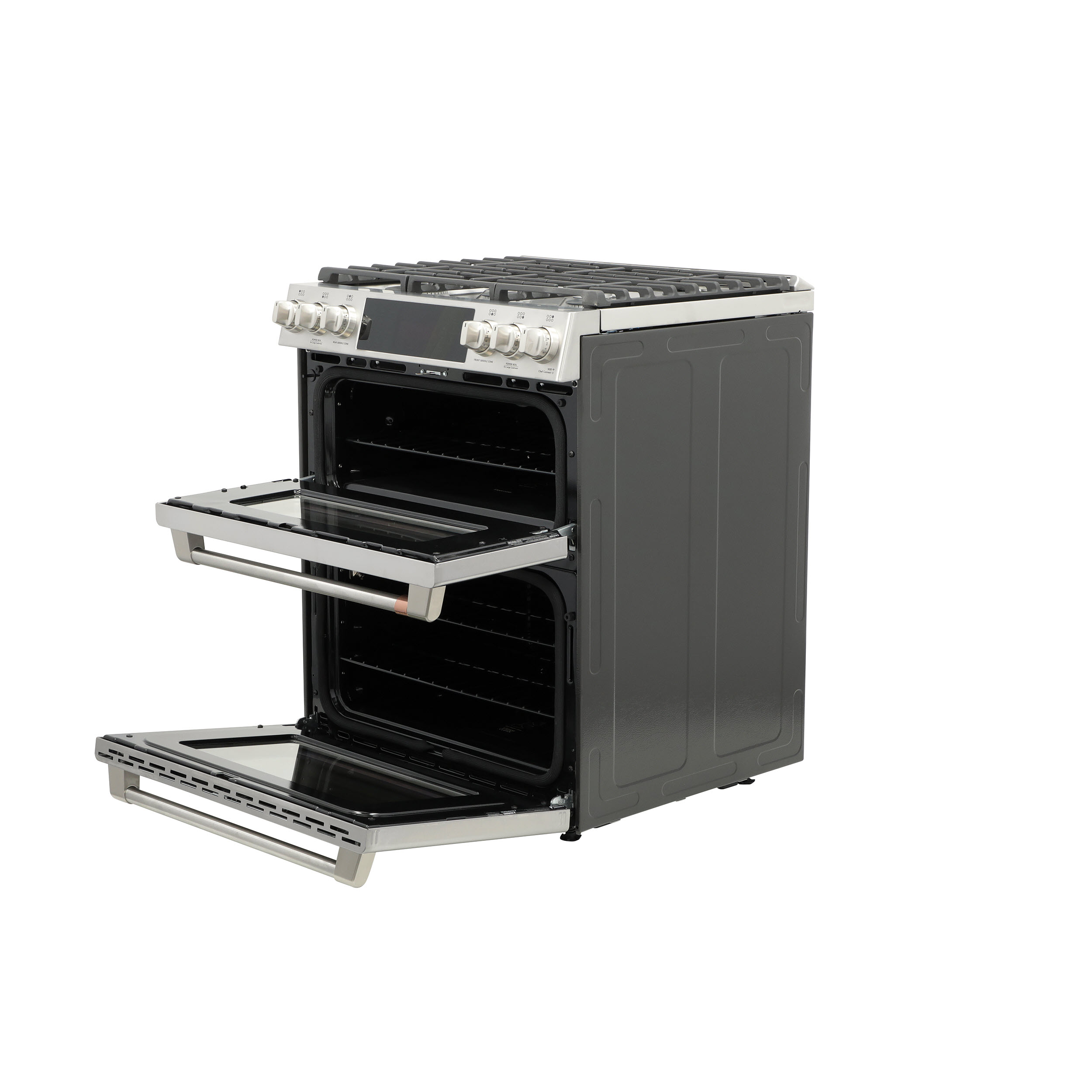 "Model: CGS750P2MS1 | Cafe Café™ 30"" Smart Slide-In, Front-Control, Gas Double-Oven Range with Convection"