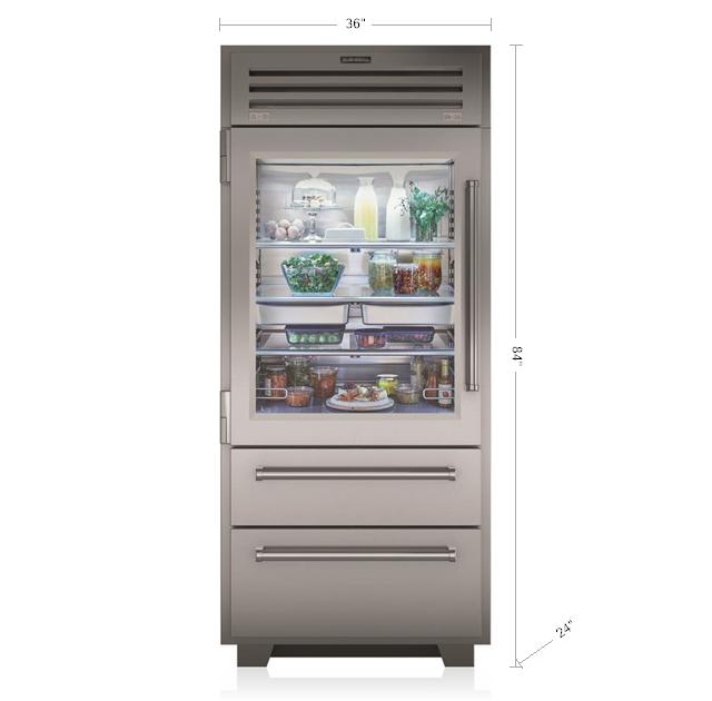 "Model: PRO3650A/LH   Sub-Zero 36"" PRO Refrigerator/Freezer with Glass Door"