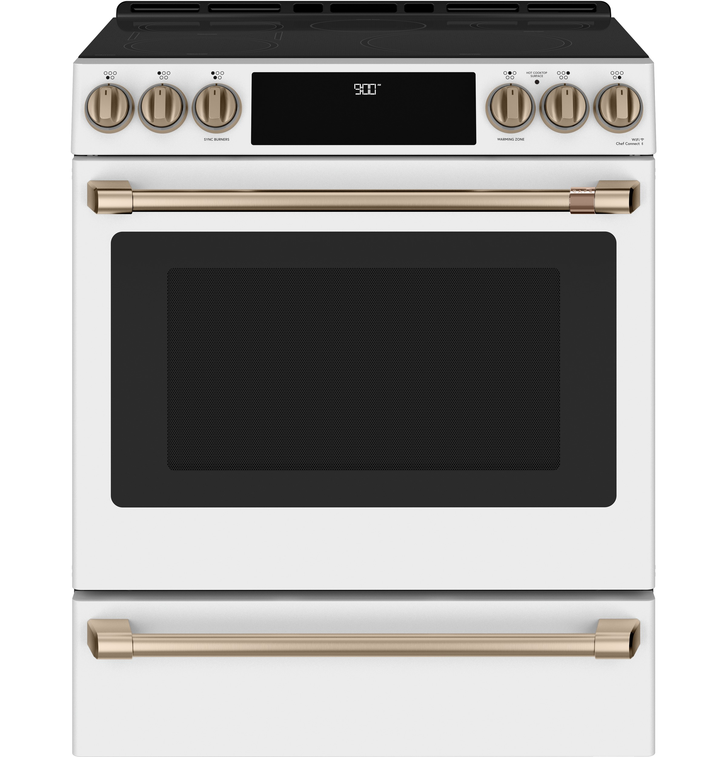 "Cafe Café™ 30"" Smart Slide-In, Front-Control, Induction and Convection Range with Warming Drawer"