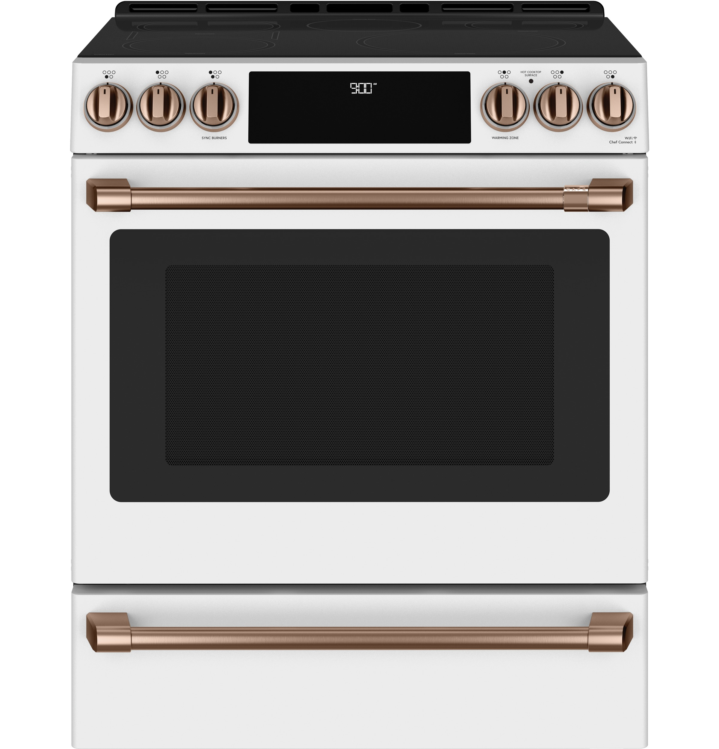 "Model: CHS900P4MW2 | Cafe Café™ 30"" Smart Slide-In, Front-Control, Induction and Convection Range with Warming Drawer"