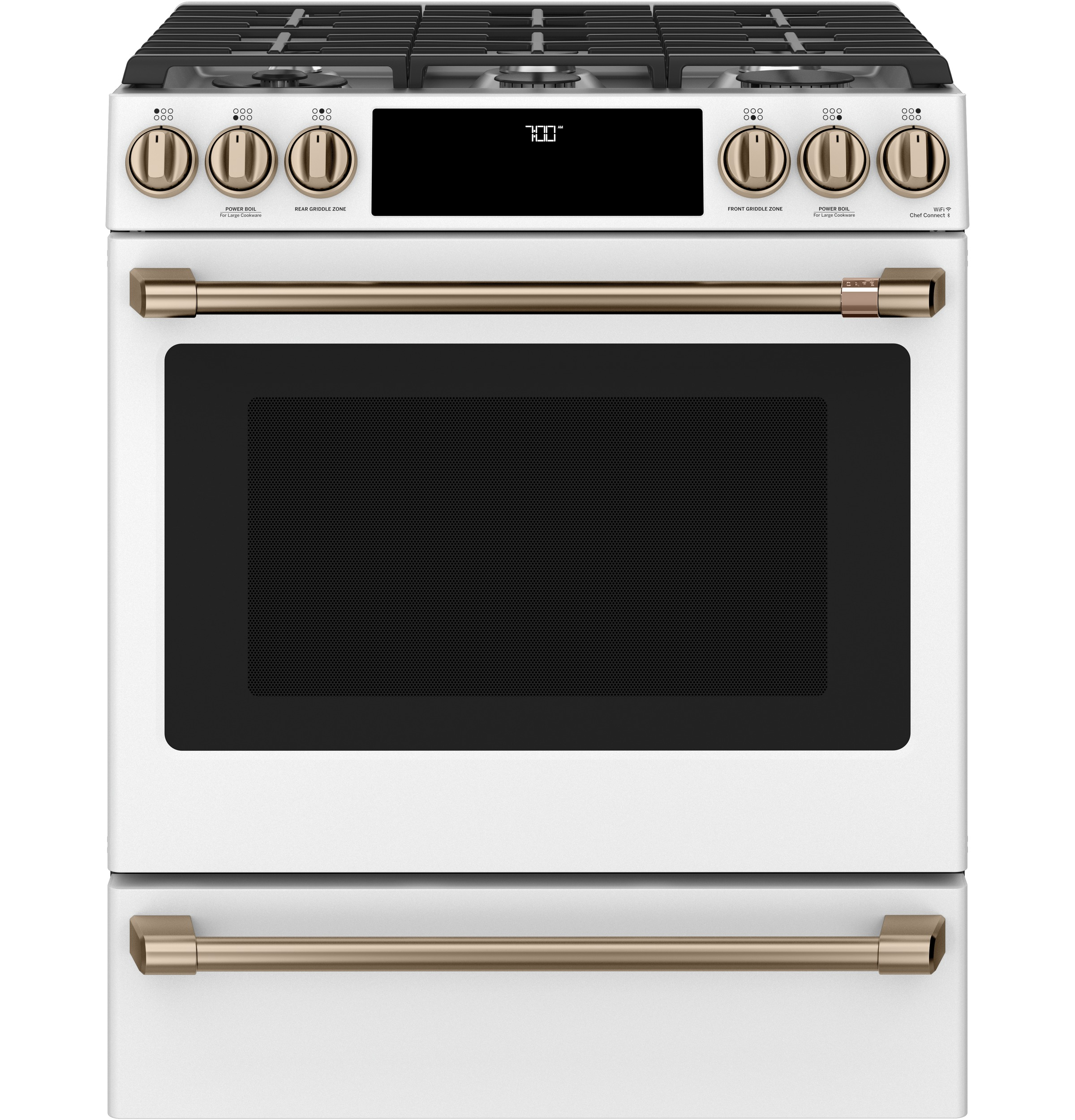 "Cafe Café™ 30"" Smart Slide-In, Front-Control, Gas Range with Convection Oven"